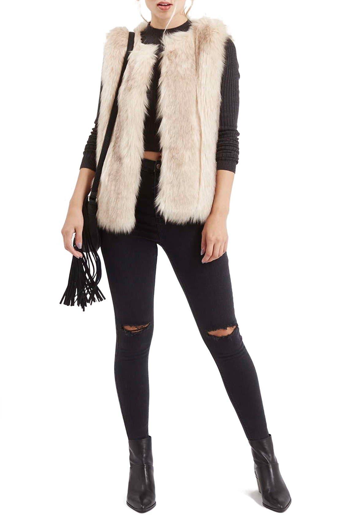 'Leah' Faux Fur Vest,                             Alternate thumbnail 5, color,                             900