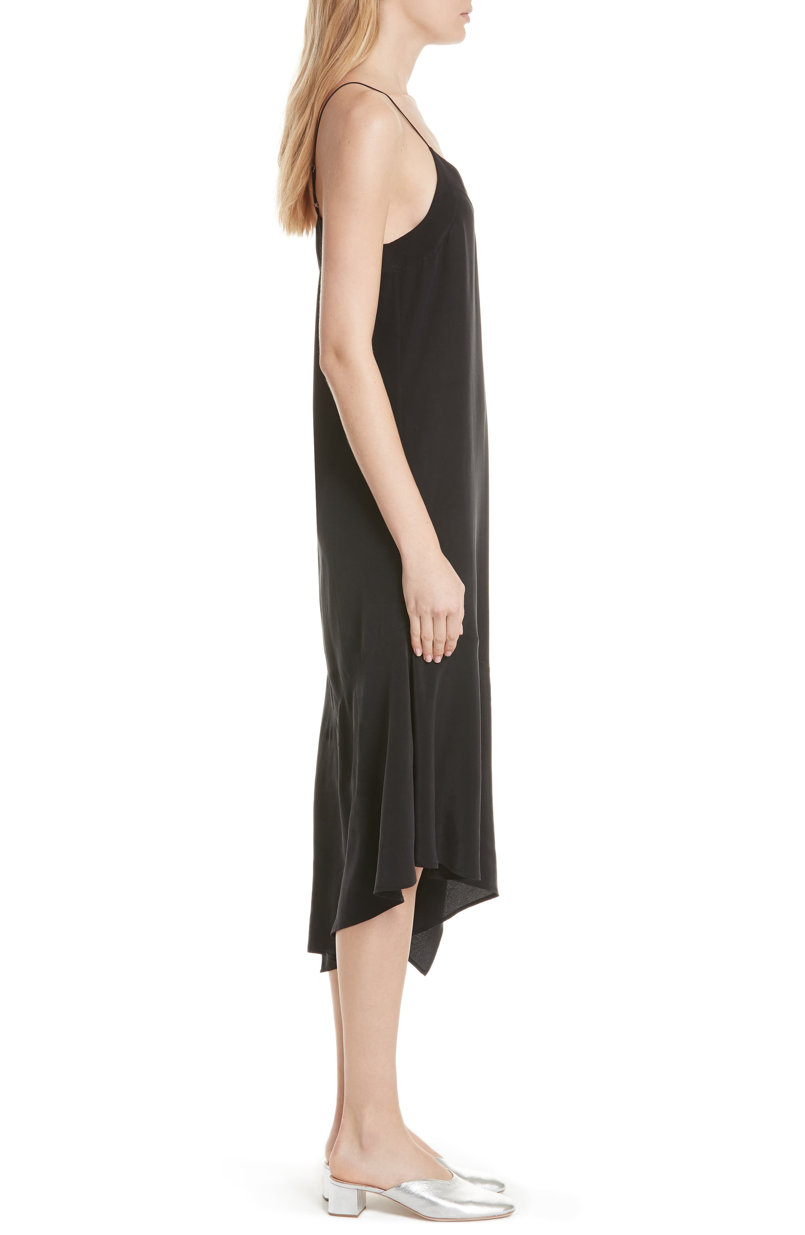 Jada Asymmetrical Silk Slip Dress,                             Alternate thumbnail 3, color,                             003