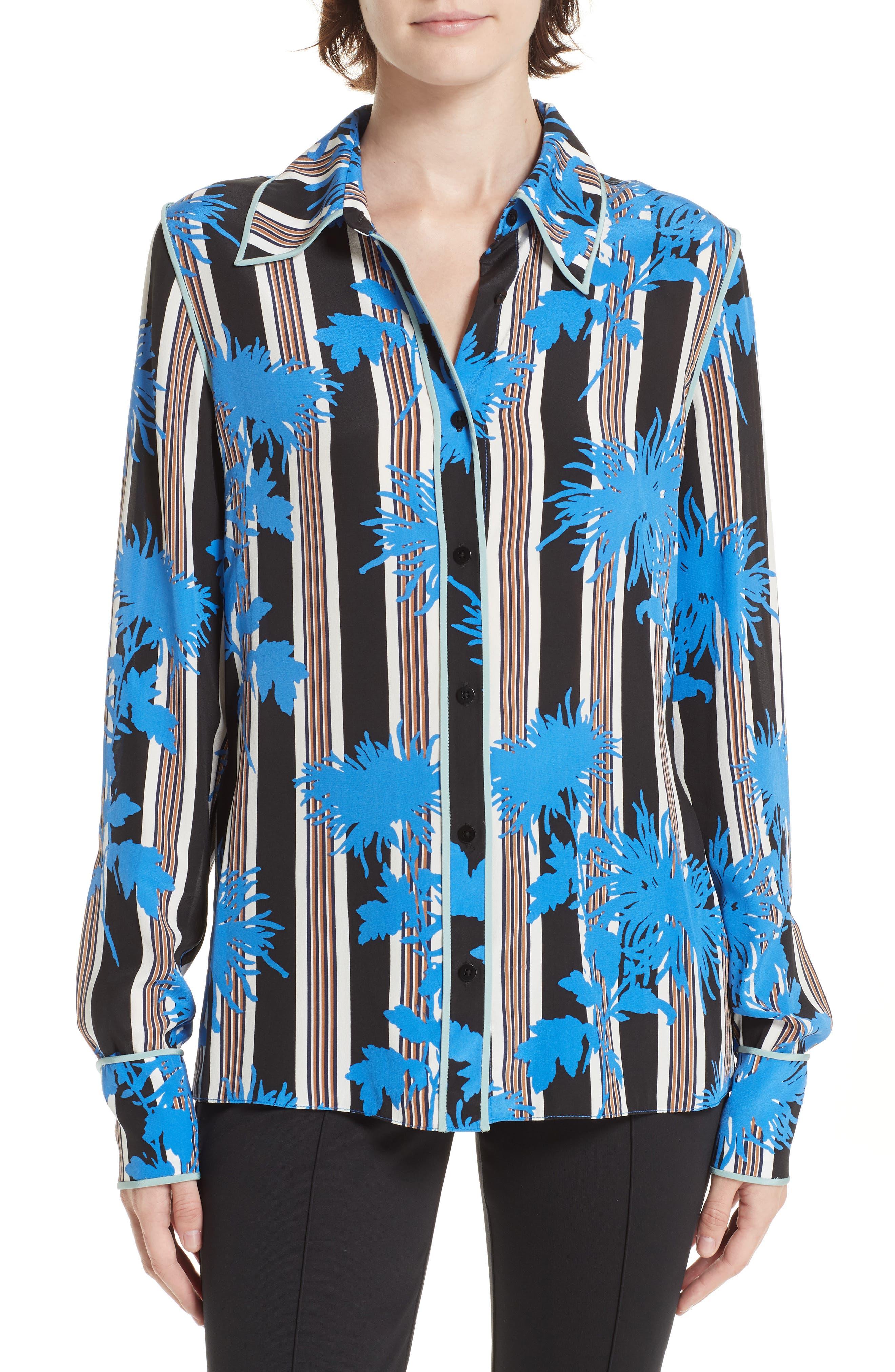 Diane von Furstenberg Floral Print Silk Shirt,                             Main thumbnail 1, color,                             SHELFORD B