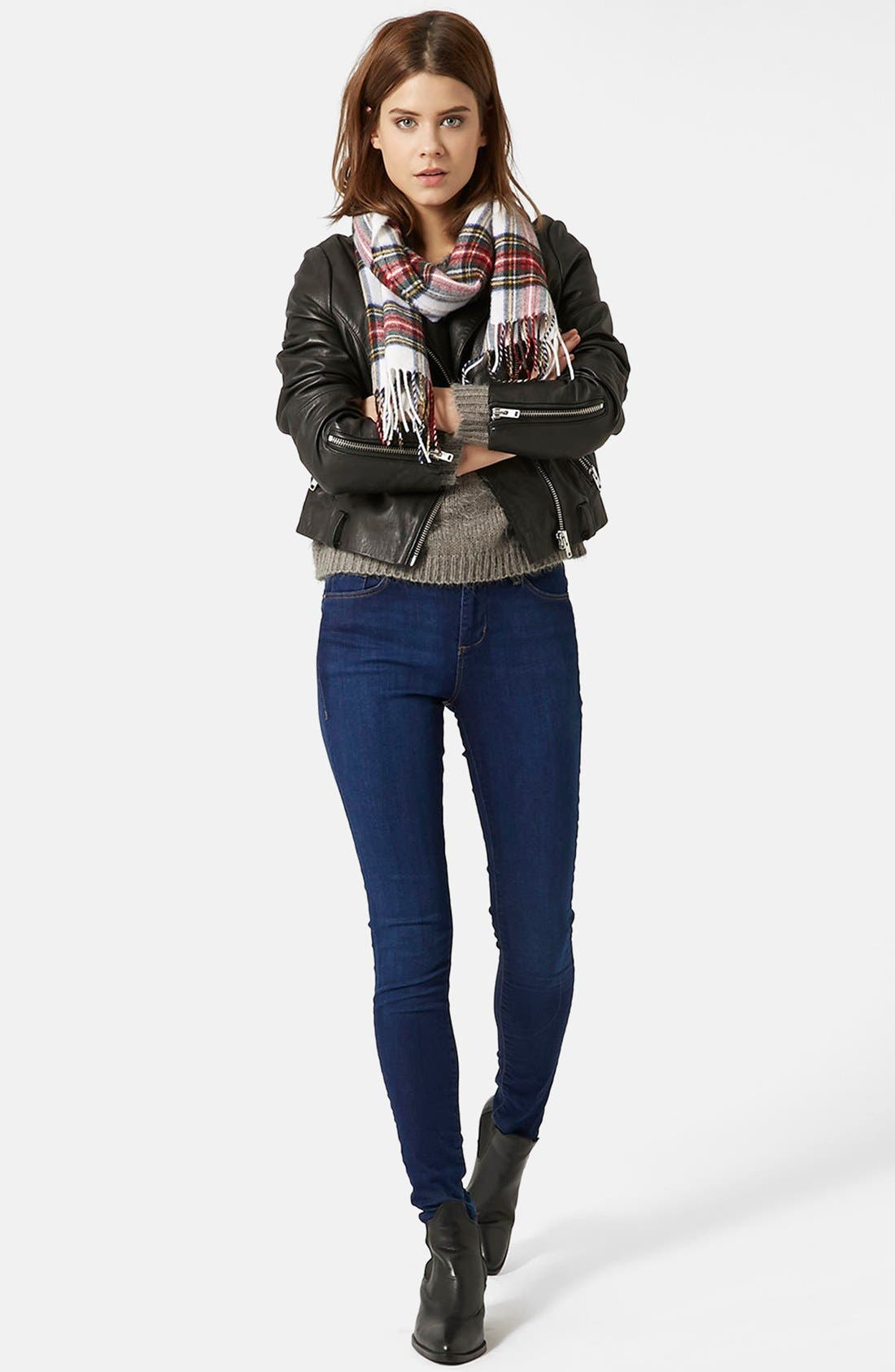 Moto 'Leigh' Ankle Skinny Jeans,                             Alternate thumbnail 4, color,                             410
