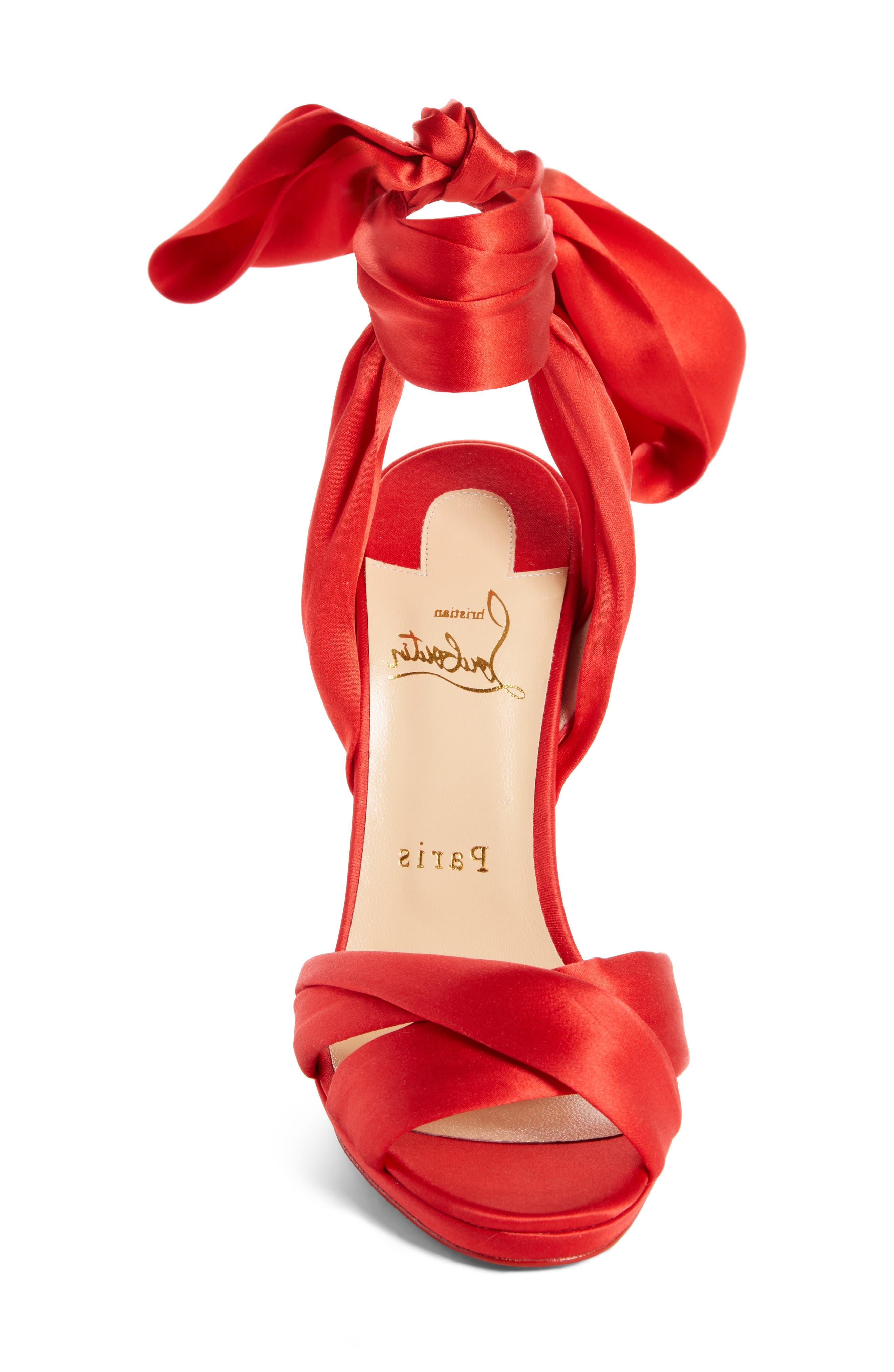 Très Frais Ankle Wrap Sandal,                             Alternate thumbnail 4, color,                             RED
