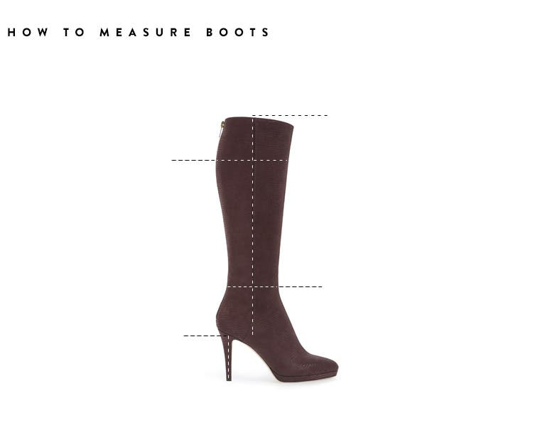 How to measure boots by calf circumference, shaft height, heel height and ankle circumference.