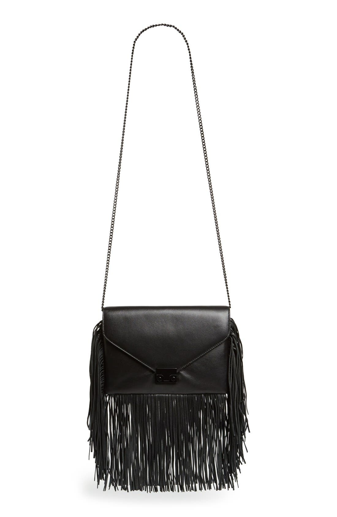 'Lock' Fringe Clutch,                             Main thumbnail 1, color,                             001