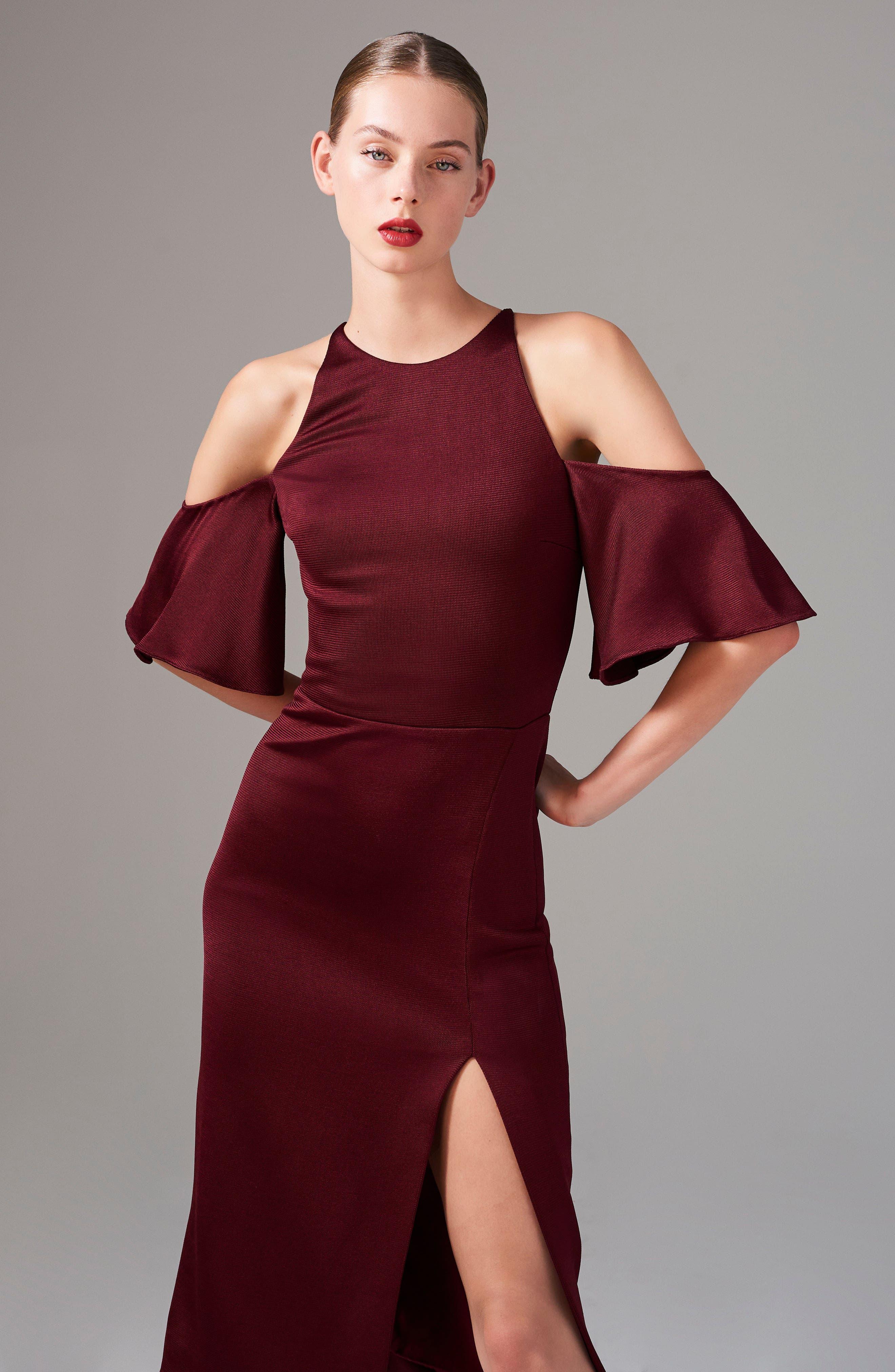 Flutter Sleeve Cold Shoulder Pencil Dress,                             Alternate thumbnail 8, color,                             932