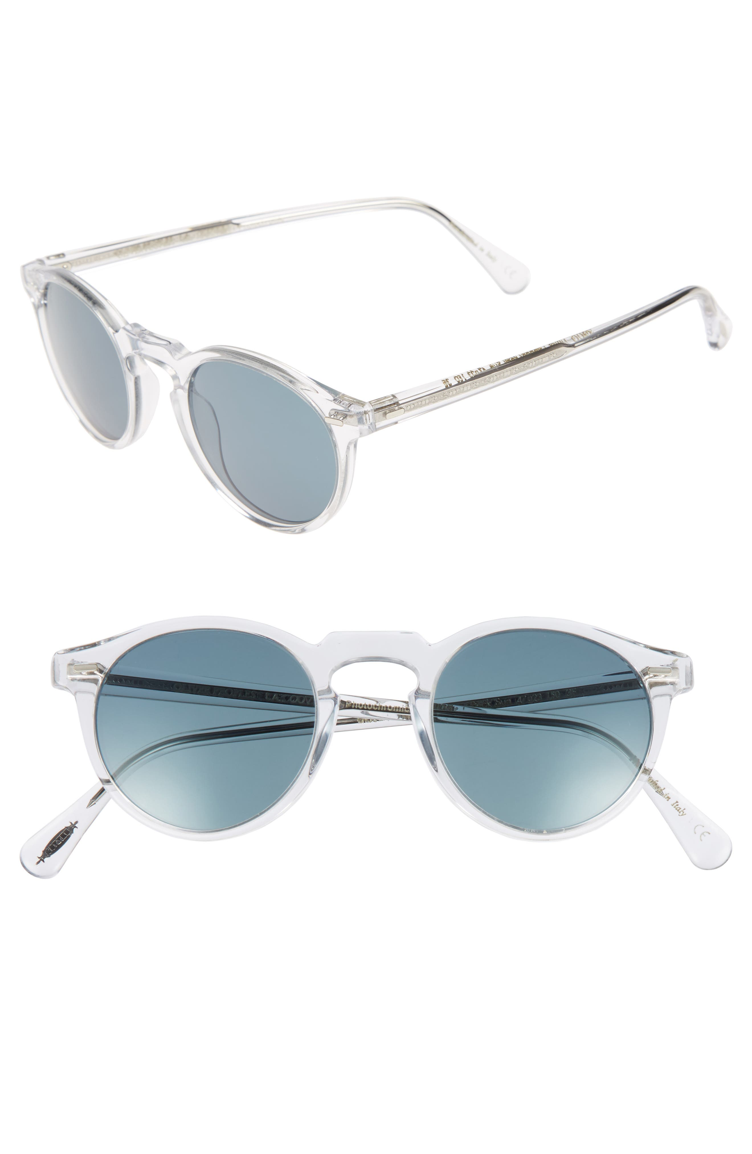 b51d4cb98bf Oliver Peoples Gregory Peck 47Mm Round Sunglasses - Crystal  Indigo