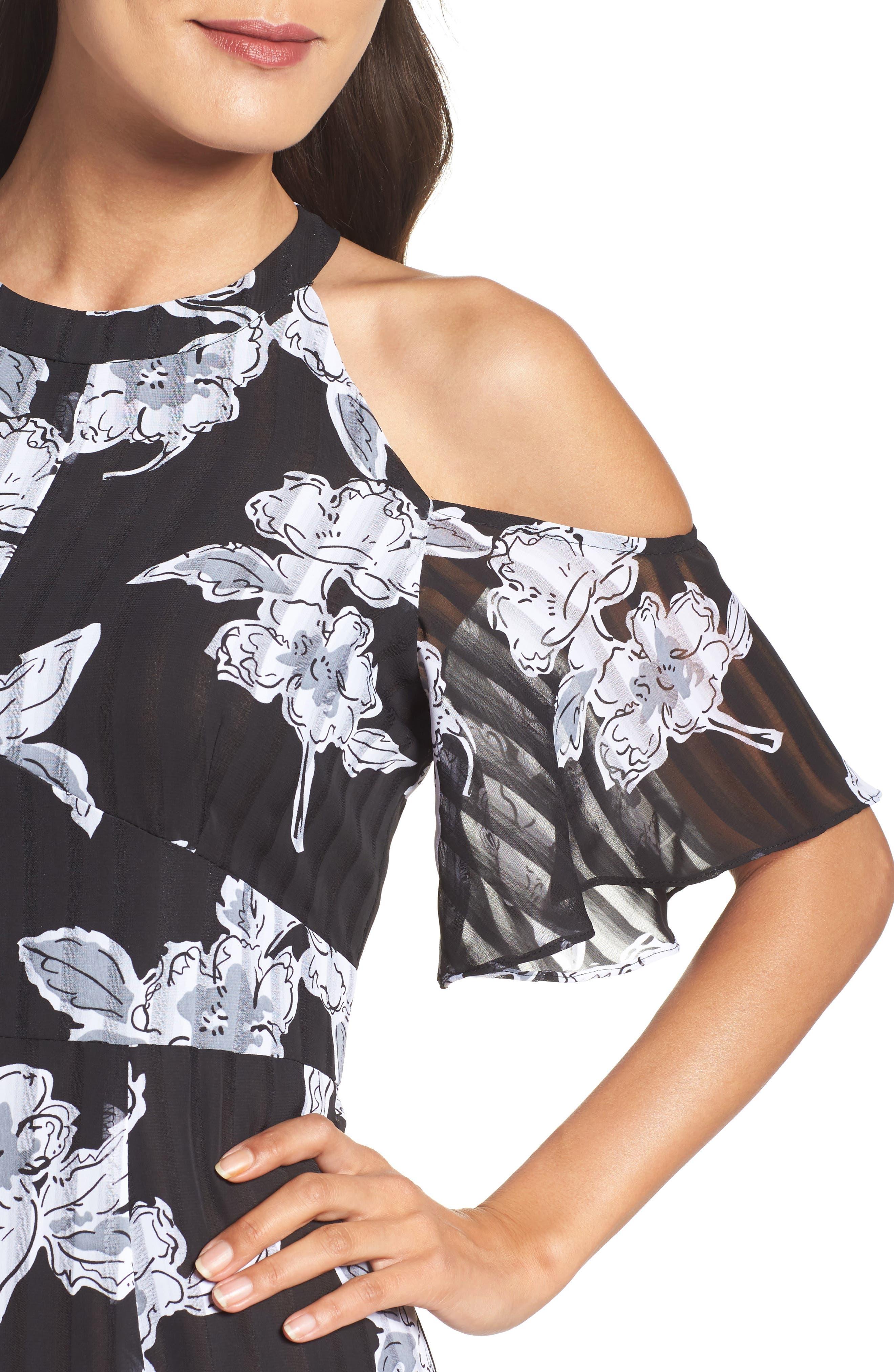 Print Cold Shoulder Dress,                             Alternate thumbnail 4, color,                             011