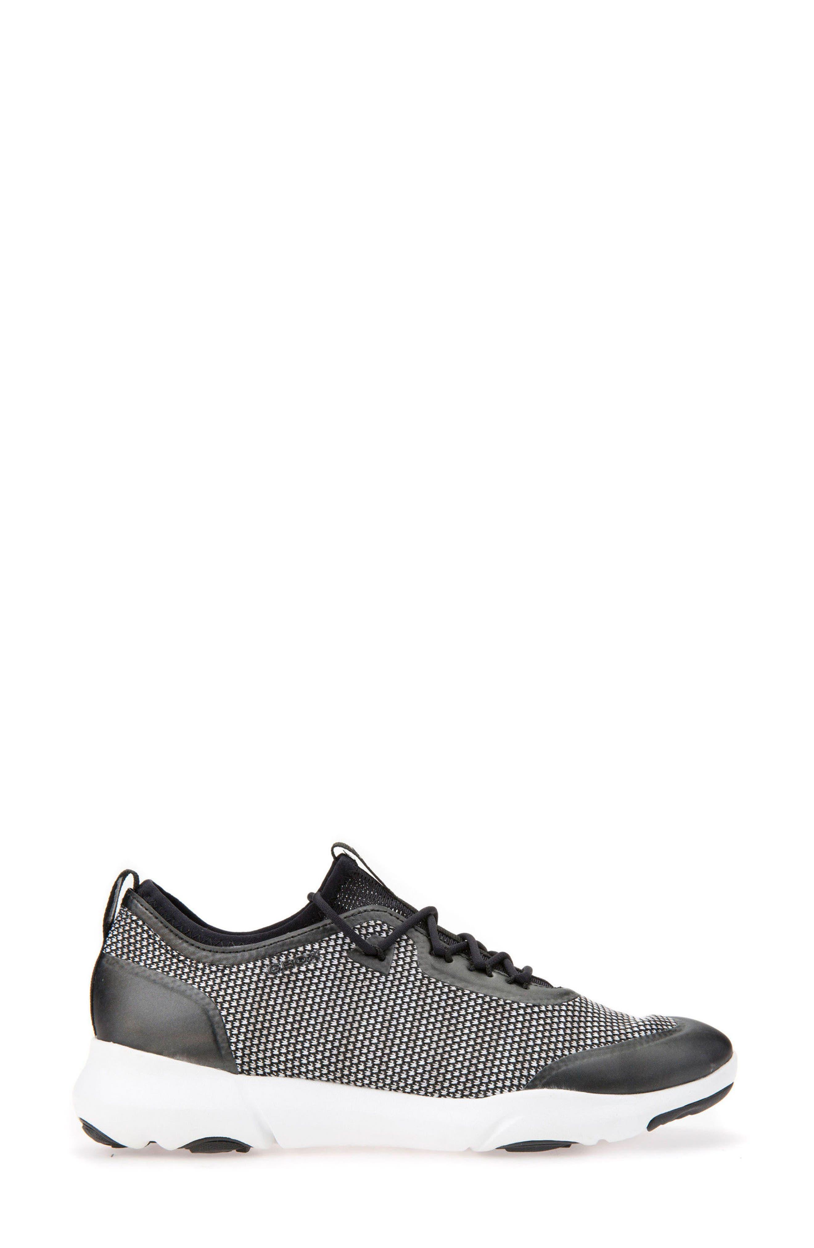 Nebula X Knit Sneaker,                             Alternate thumbnail 3, color,                             BLACK/ WHITE LEATHER