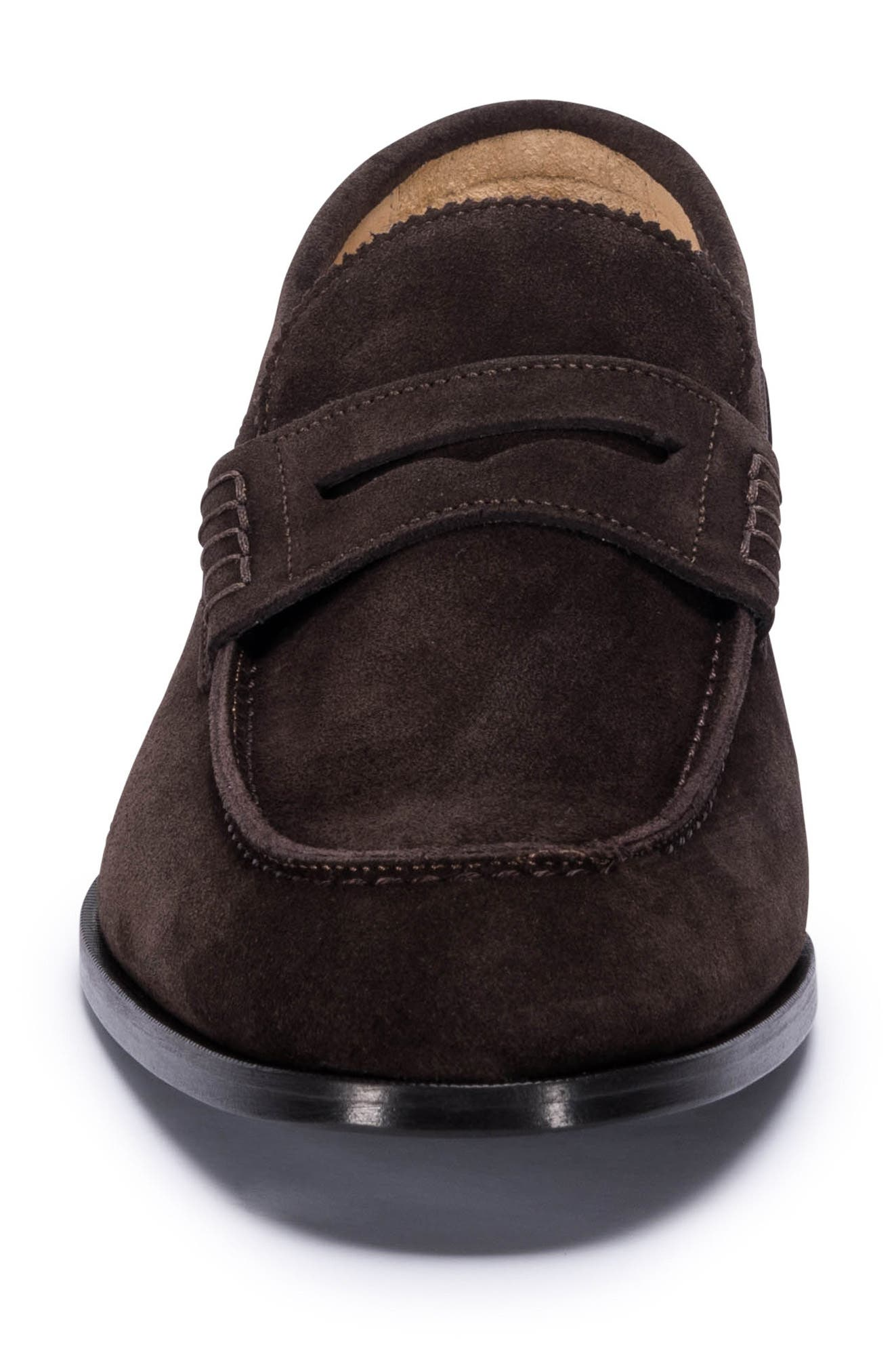 Torino Penny Loafer,                             Alternate thumbnail 4, color,                             BROWN SUEDE
