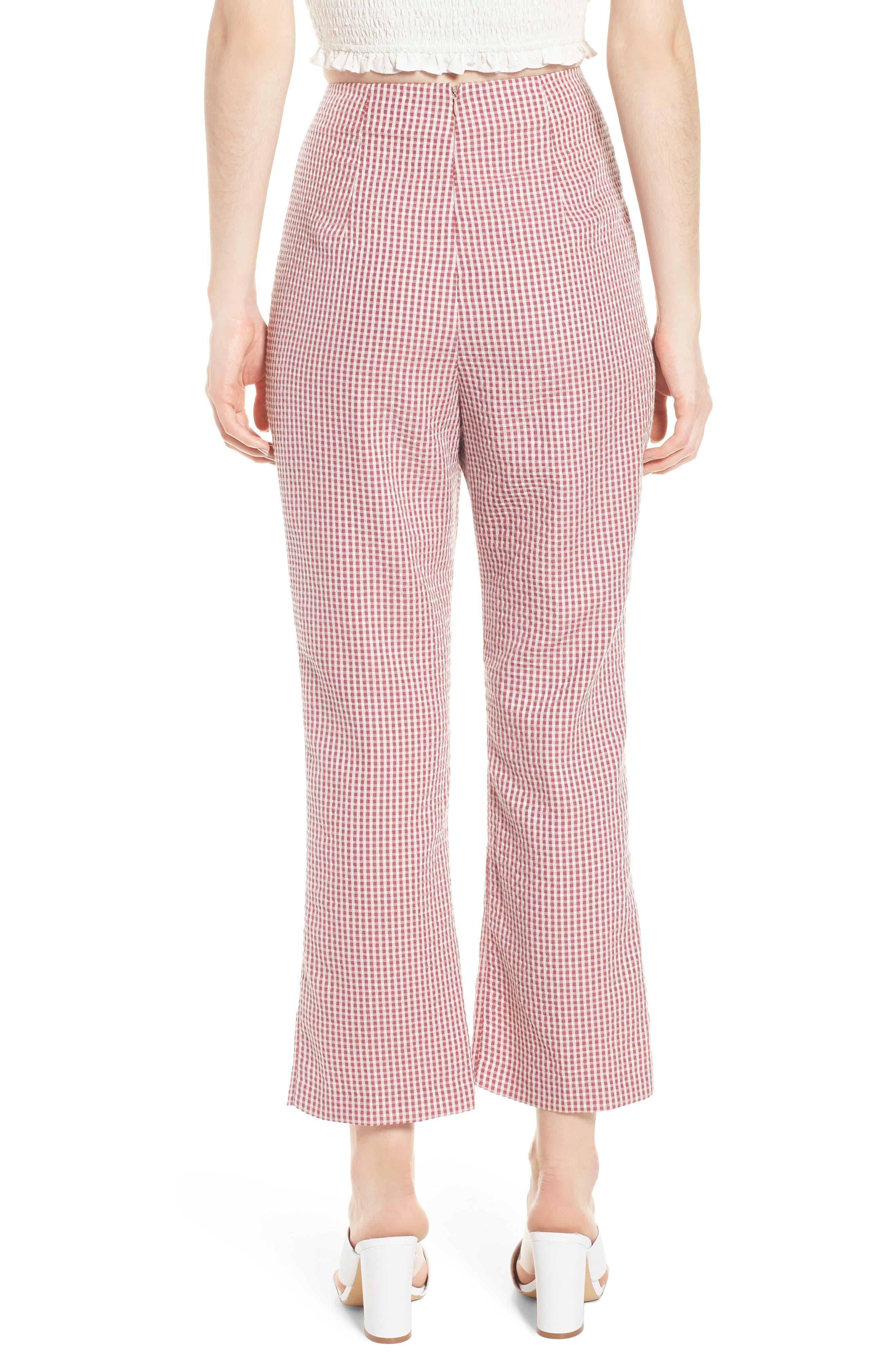 Pisa High Waist Crop Pants,                             Alternate thumbnail 2, color,                             RED GINGHAM