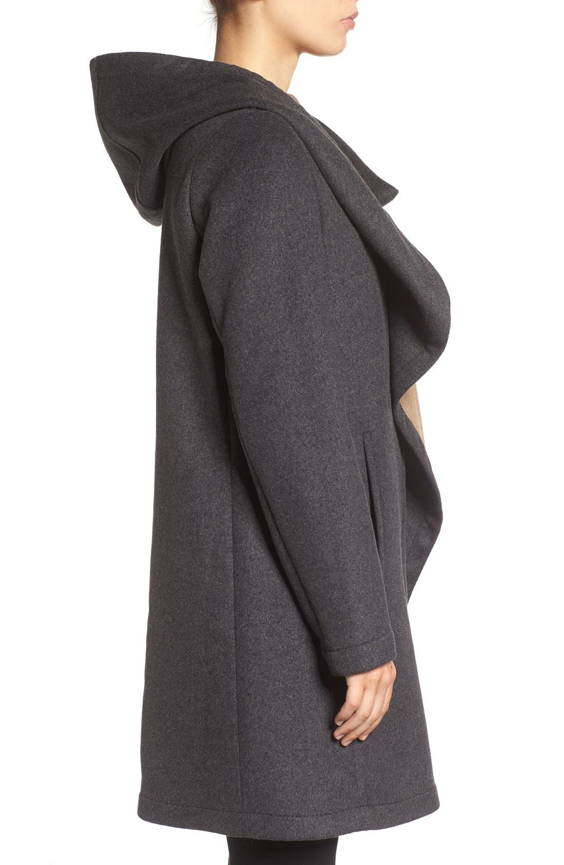 Double Face Hooded Drape Coat,                             Alternate thumbnail 6, color,