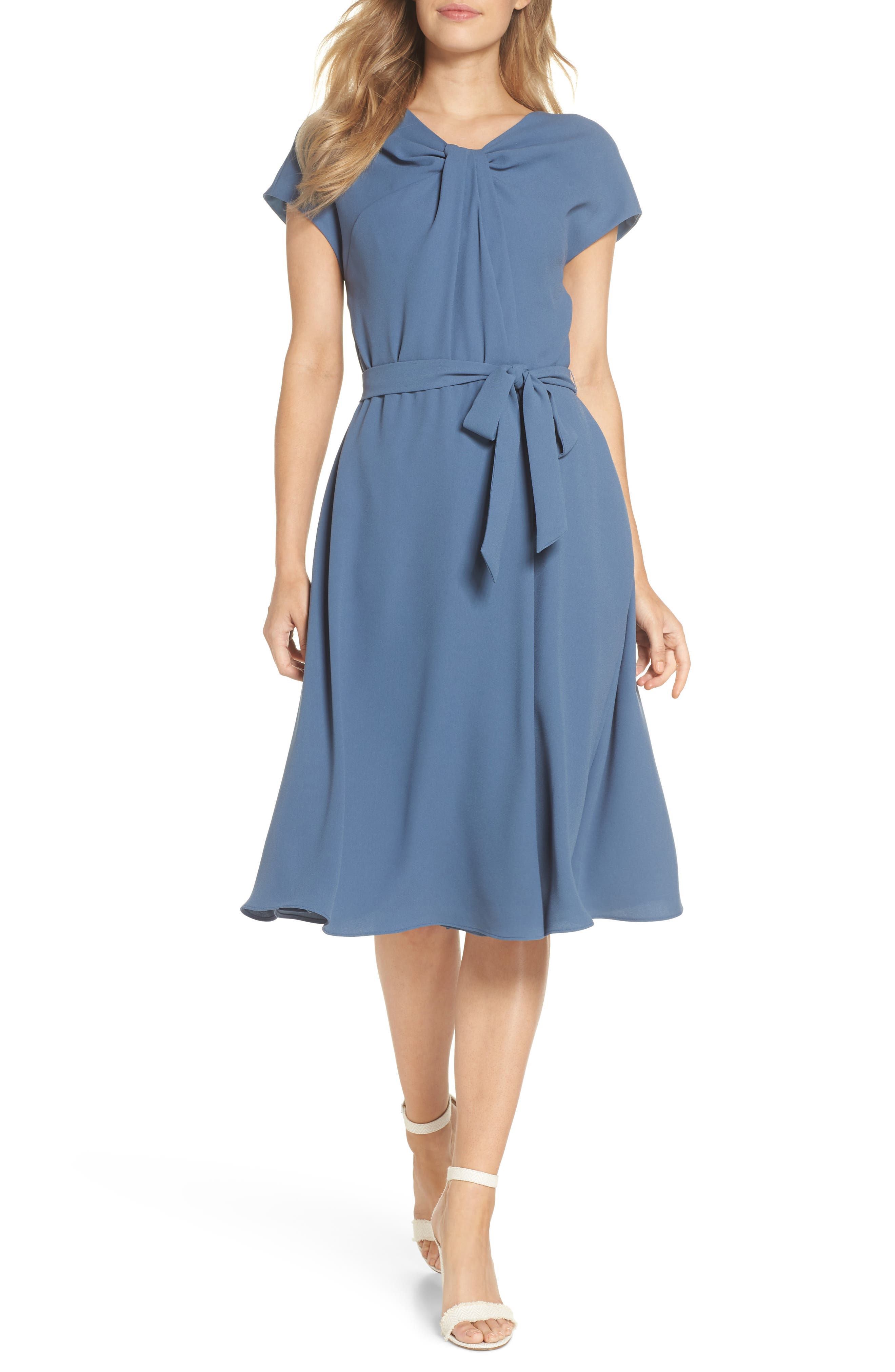 Vivian Twist Neck Fit & Flare Dress,                             Main thumbnail 1, color,                             DUSTY BLUE