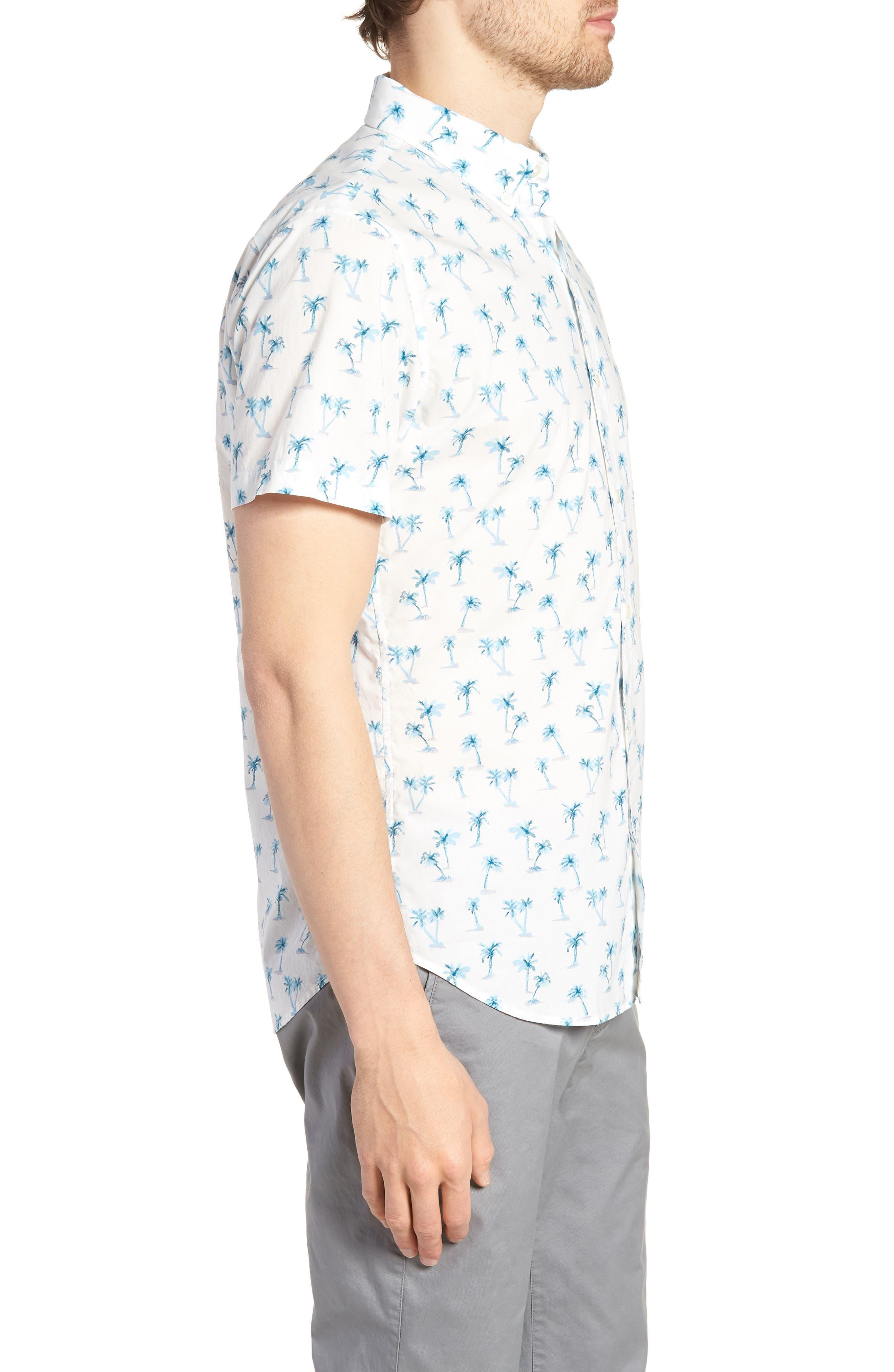 Riviera Slim Fit Palm Print Sport Shirt,                             Alternate thumbnail 3, color,                             100