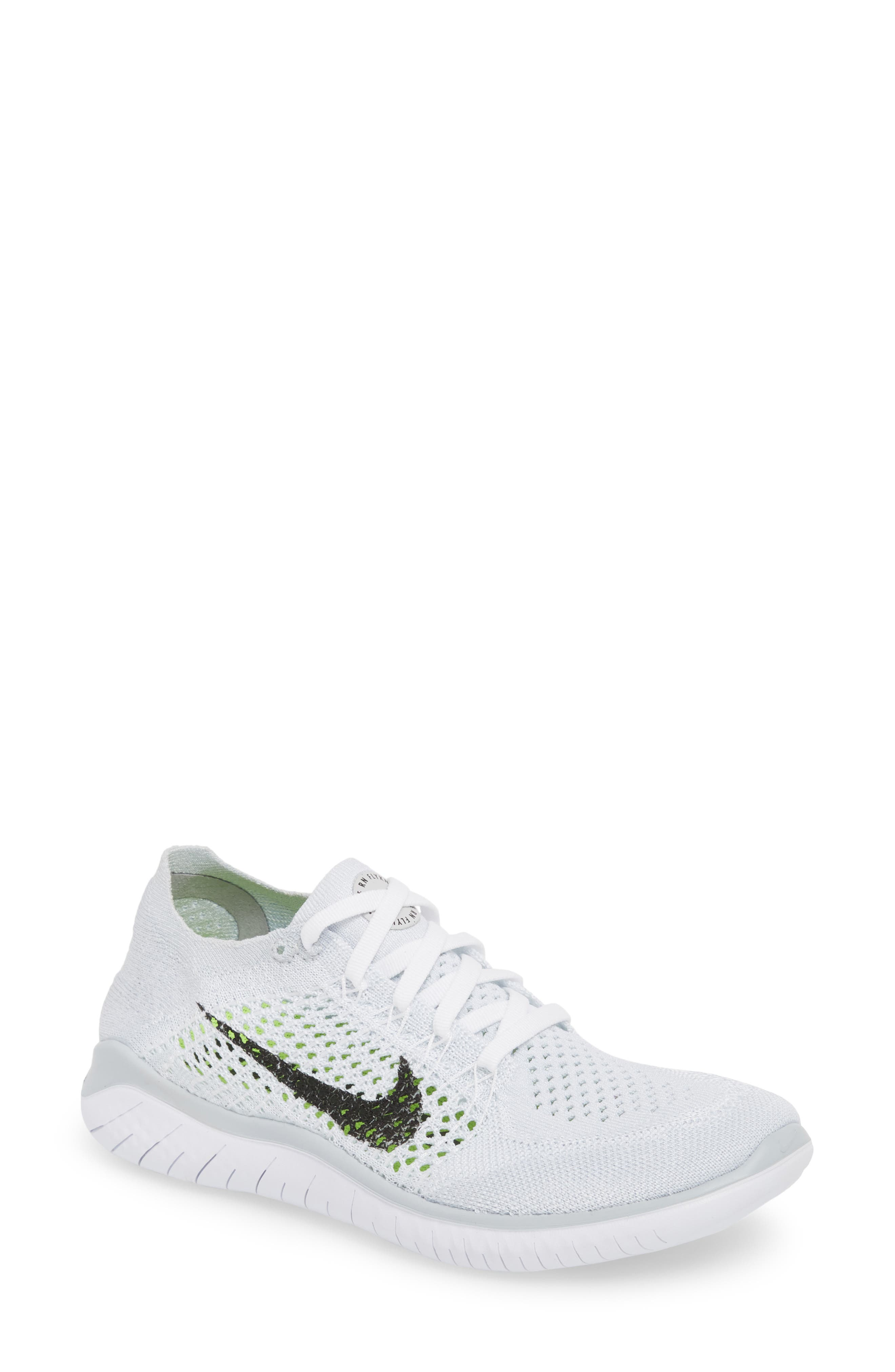 Free RN Flyknit 2018 Running Shoe,                         Main,                         color, WHITE/ BLACK/ PURE PLATINUM