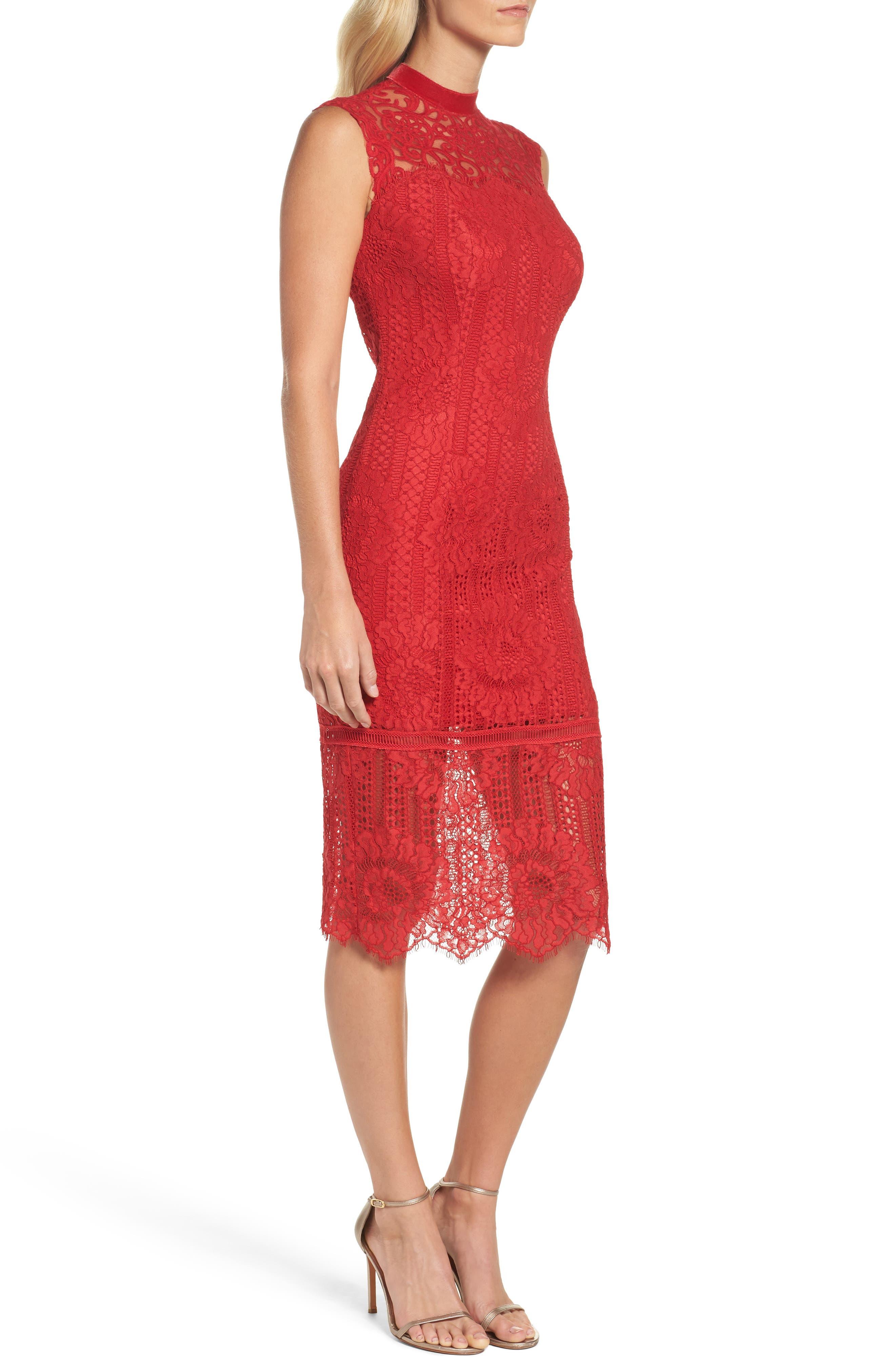 High Neck Stripe Lace Sheath Dress,                             Alternate thumbnail 3, color,                             615
