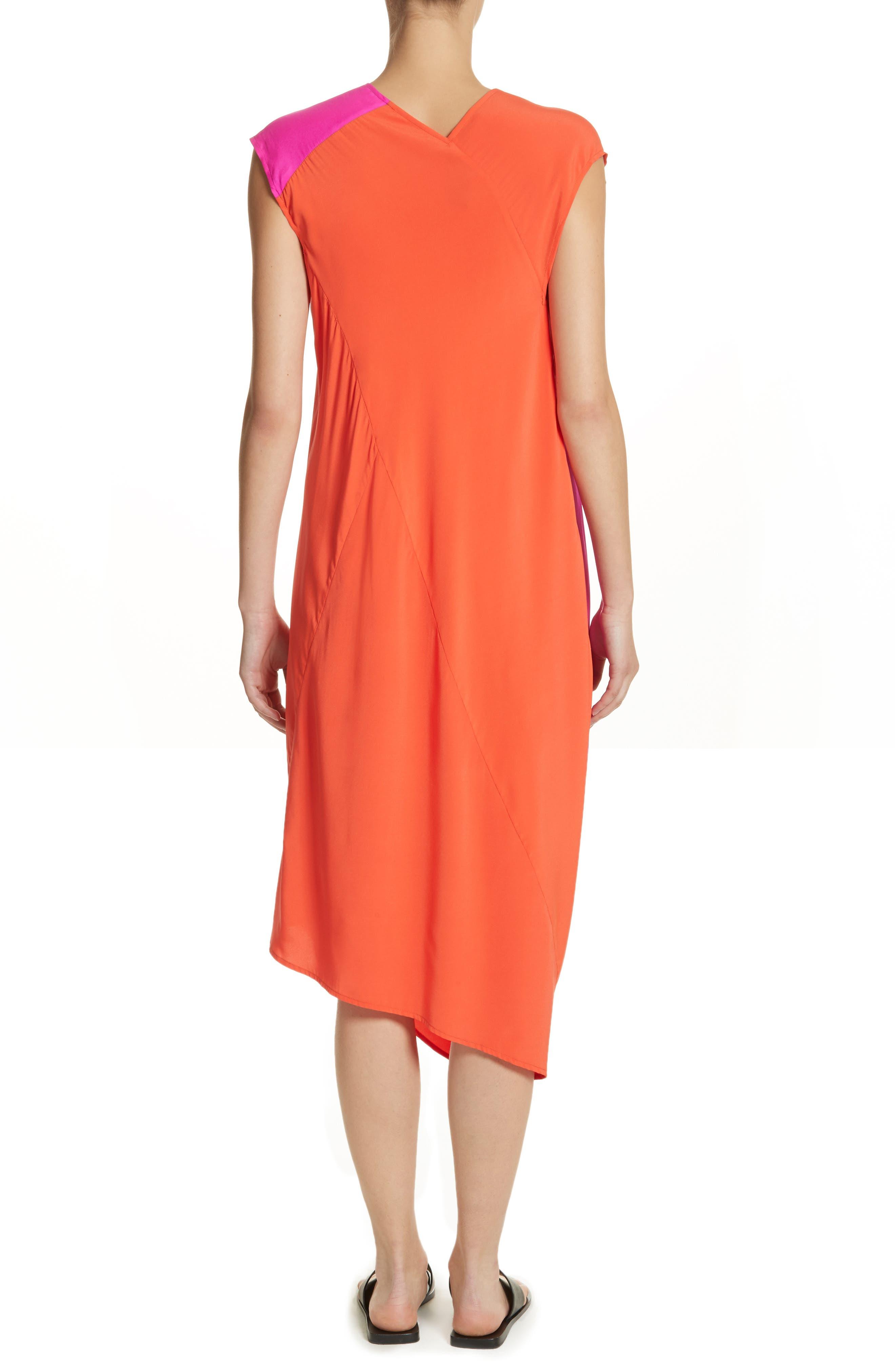 Colorblock Drape Silk Blend Dress,                             Alternate thumbnail 2, color,                             650