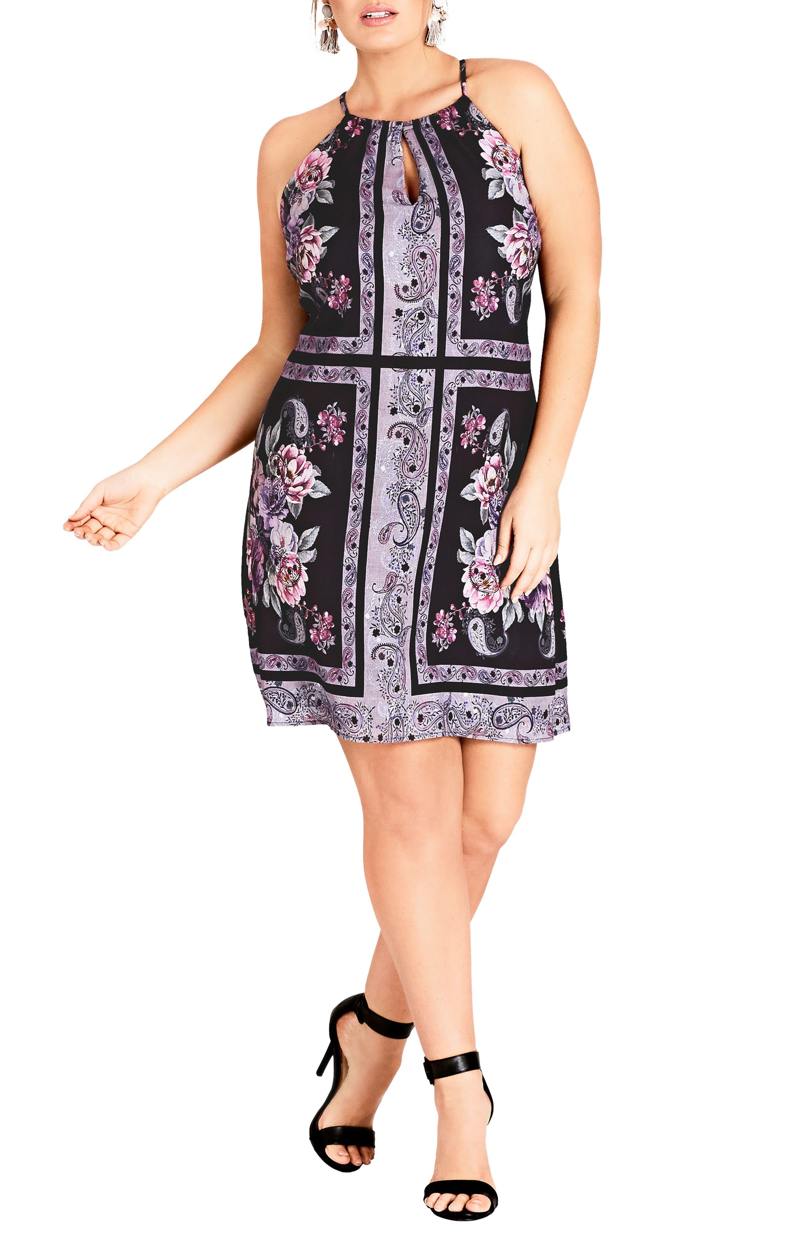 Paisley Patch Sheath Dress,                             Main thumbnail 1, color,                             001