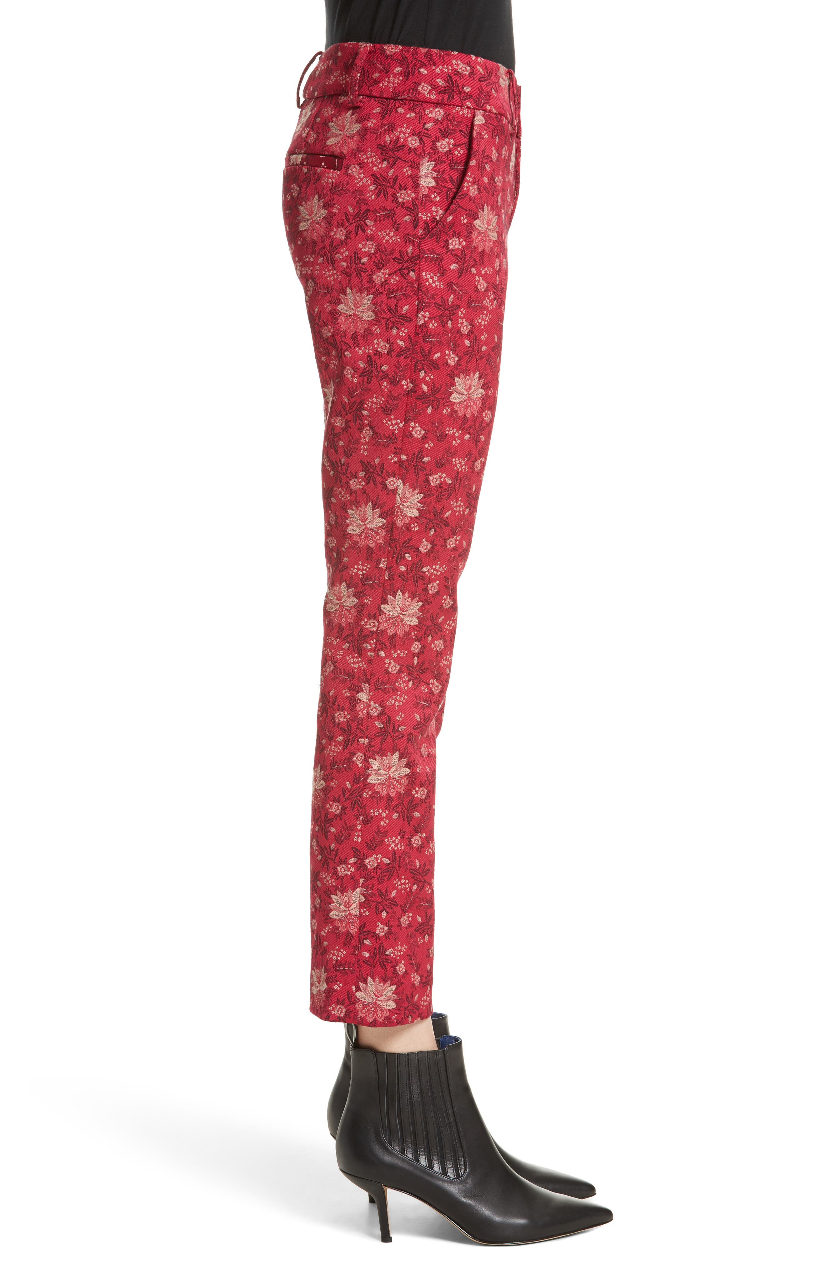 Stacey Crop Flare Print Pants,                             Alternate thumbnail 3, color,                             650
