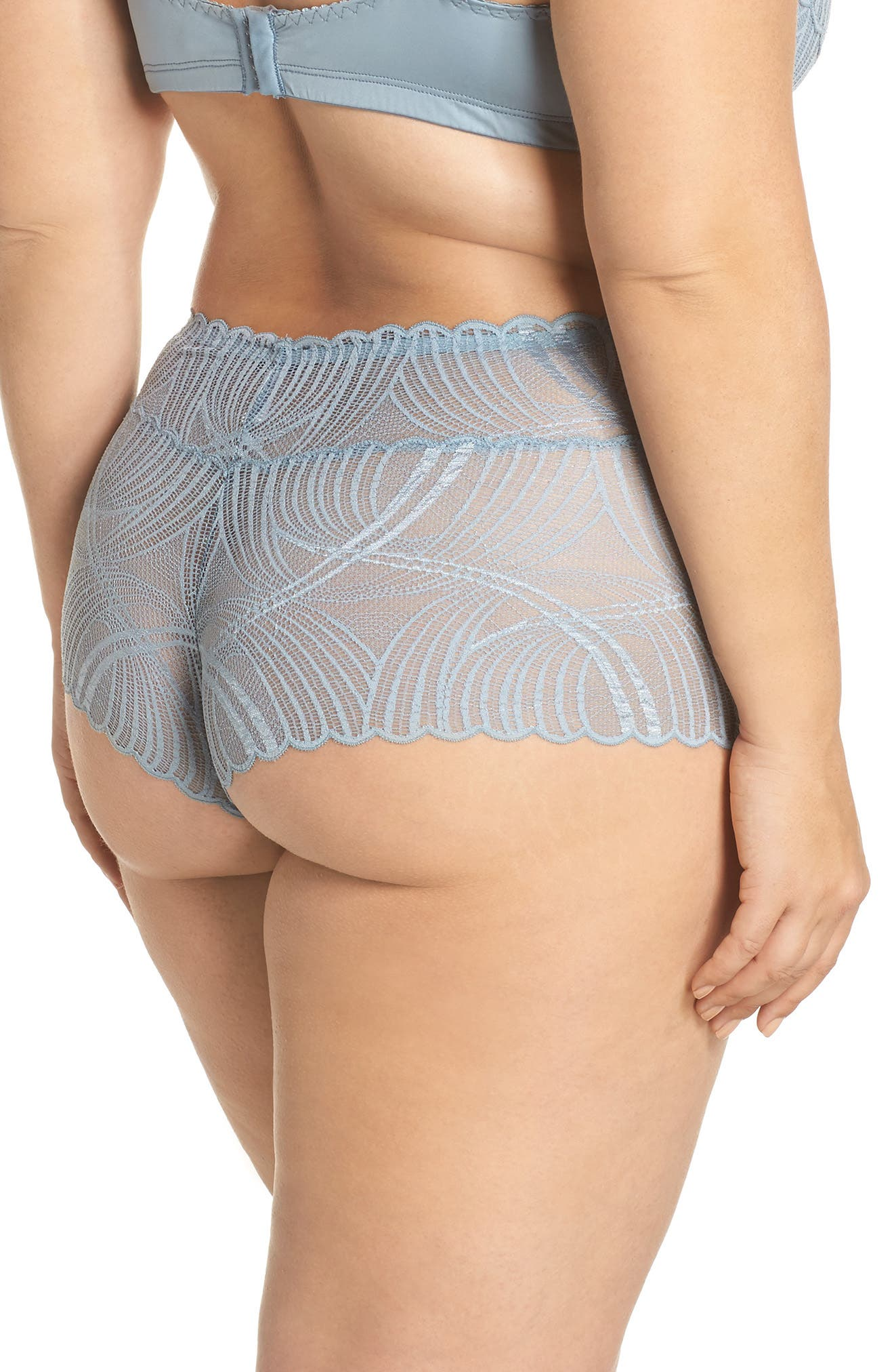 Minoa Naughtie Open Gusset Boyshorts,                             Alternate thumbnail 6, color,