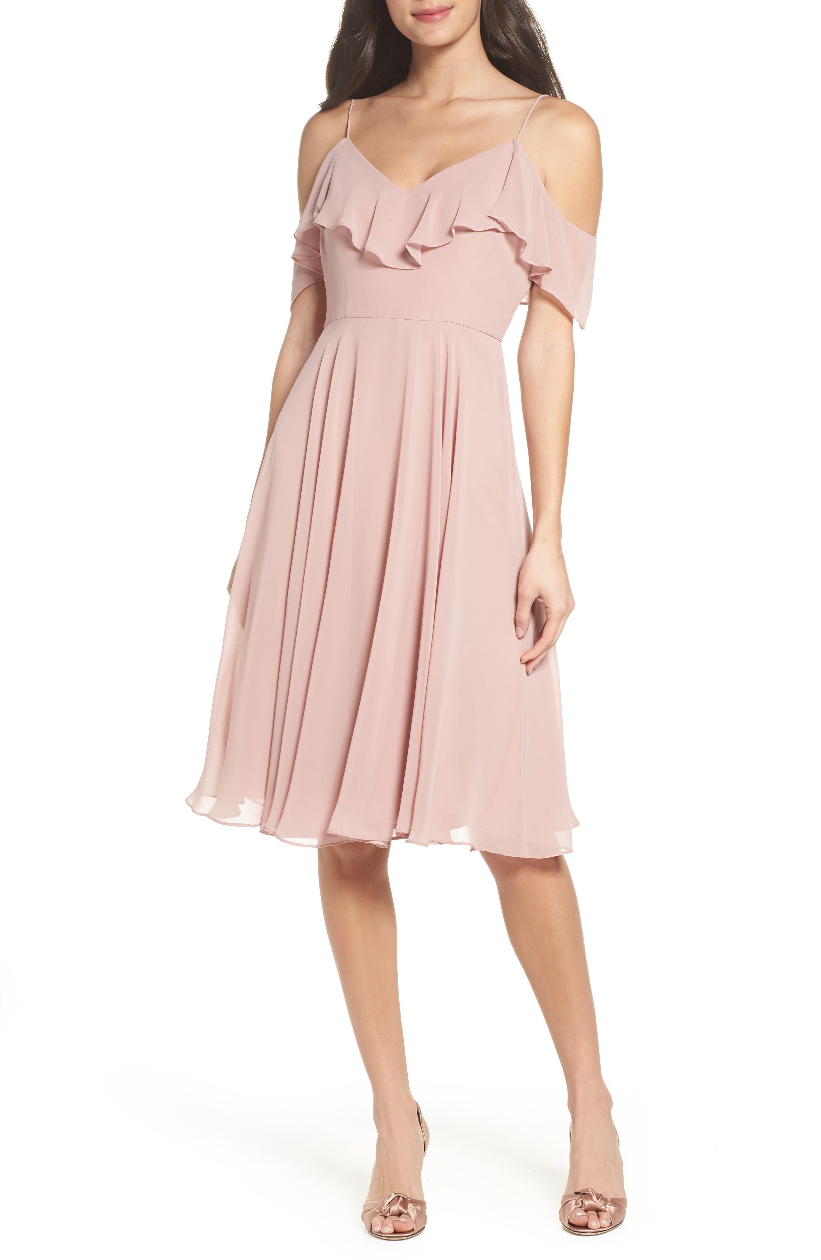 Kelli Cold Shoulder Chiffon Dress,                             Main thumbnail 1, color,                             664