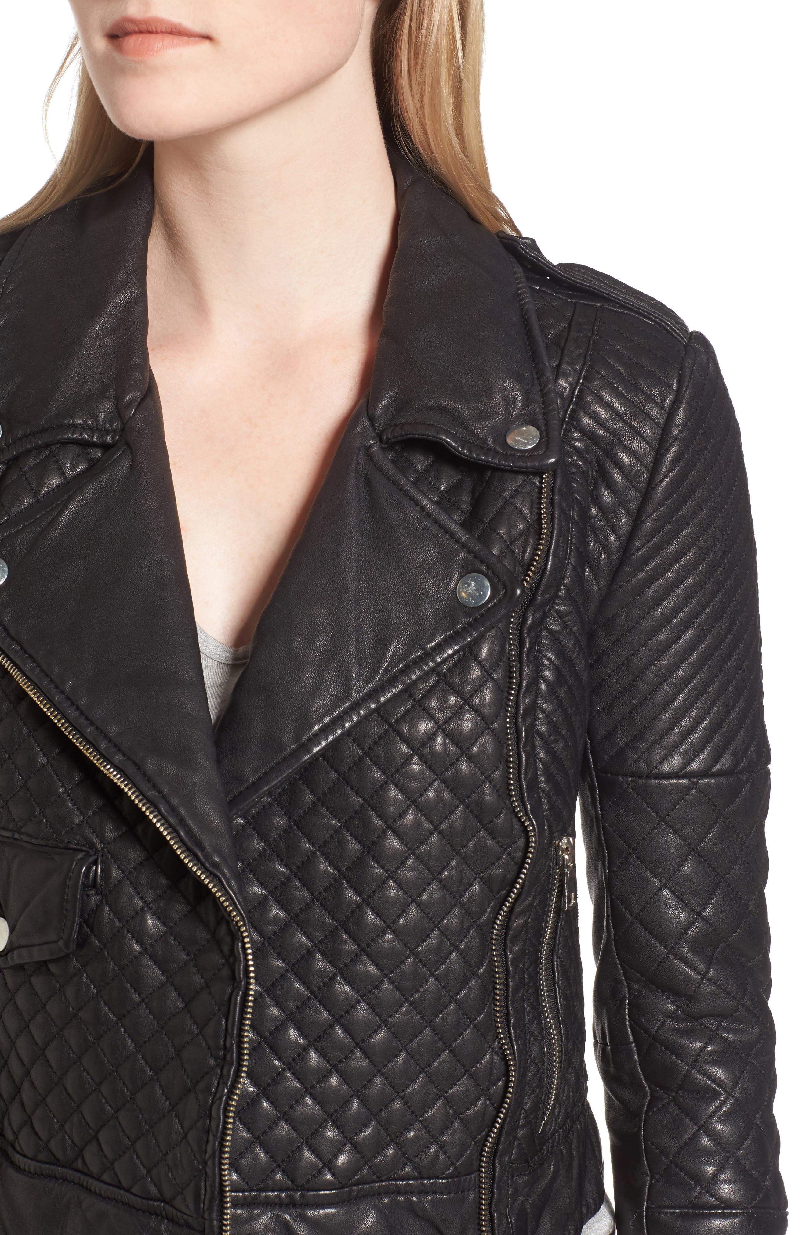 Quilted Leather Moto Jacket,                             Alternate thumbnail 4, color,                             BLACK