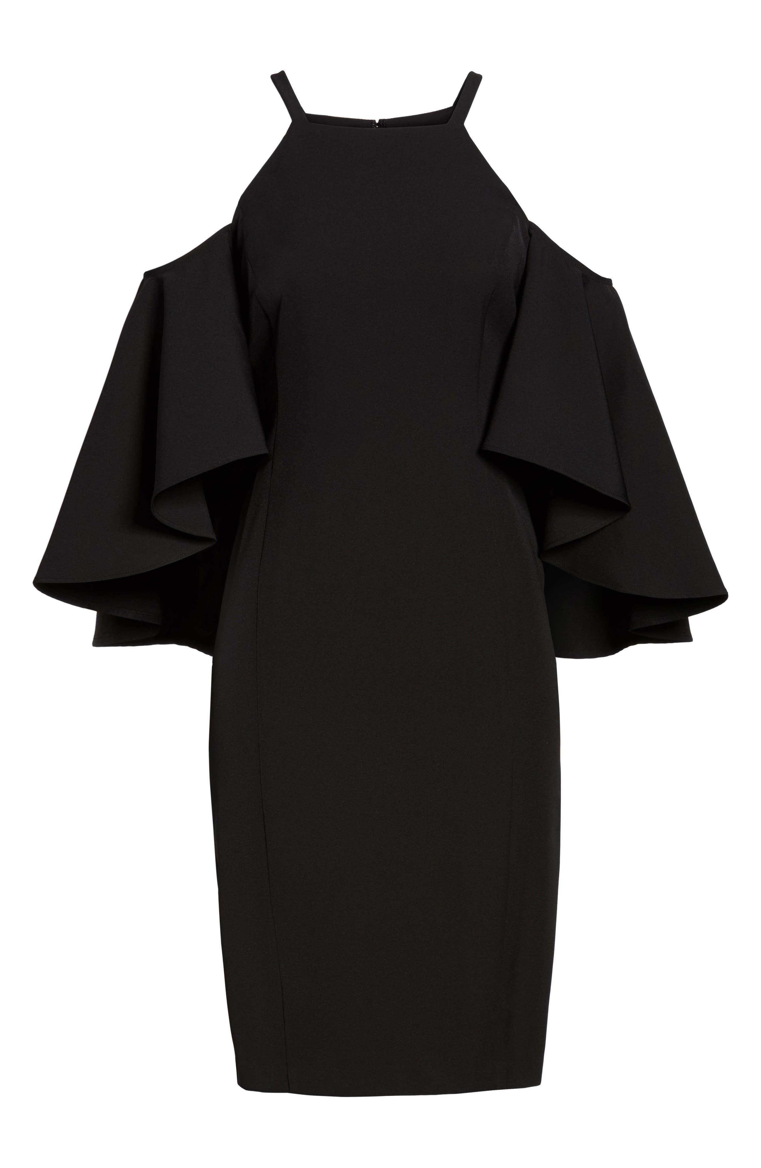 Laguna Cold Shoulder Sheath Dress,                             Alternate thumbnail 6, color,                             001