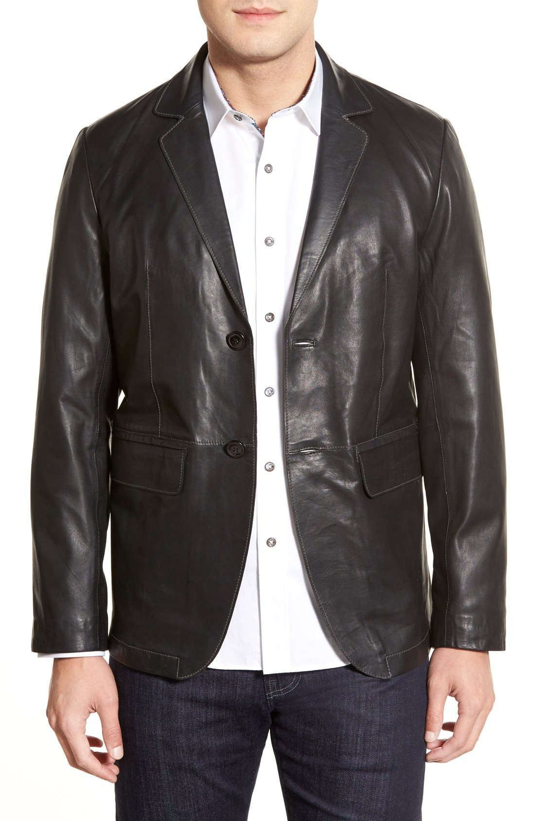 Lambskin Leather Sport Coat,                             Main thumbnail 1, color,                             BLACK