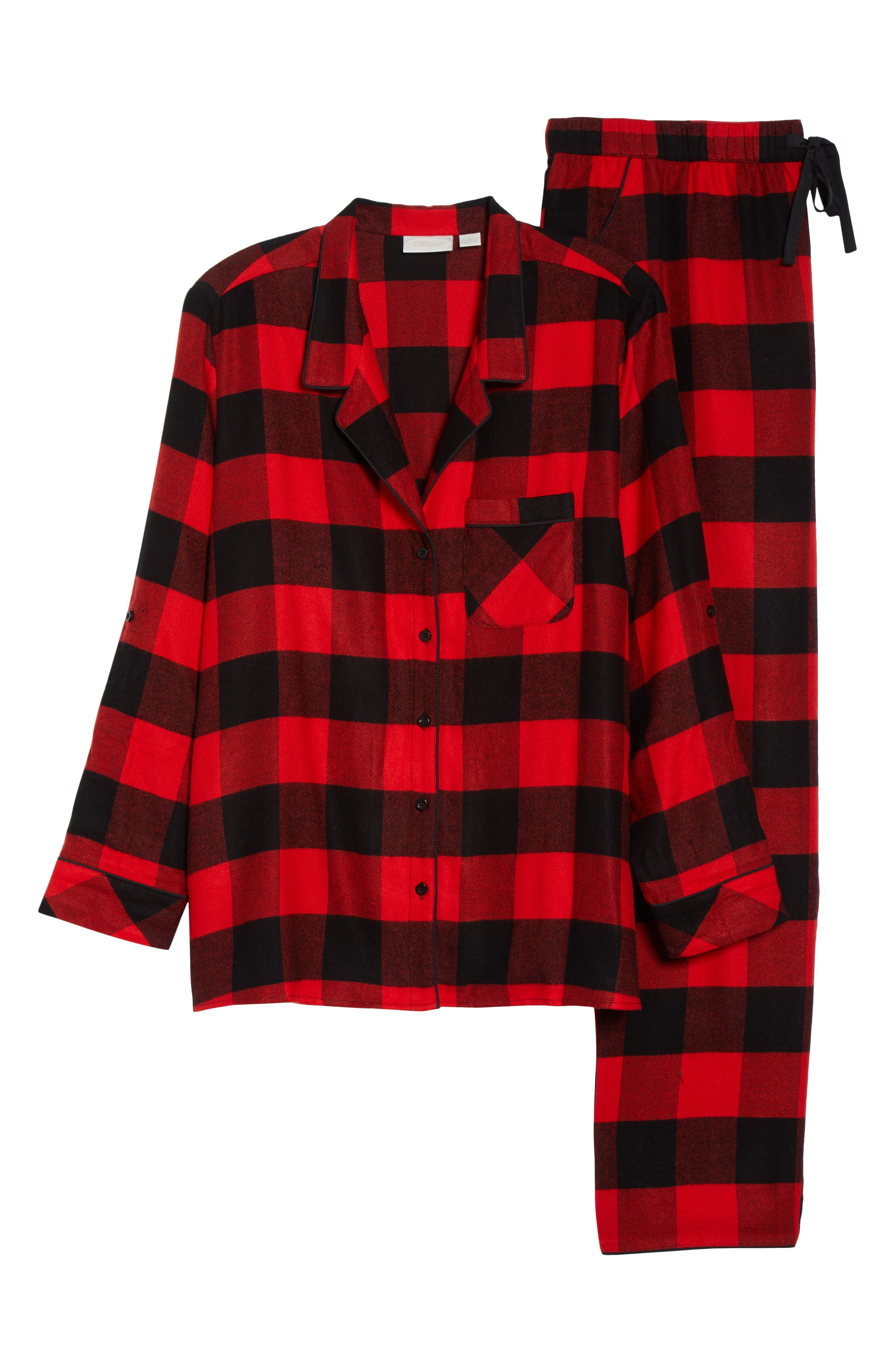 Starlight Plaid Flannel Pajamas,                             Alternate thumbnail 6, color,                             RED BLOOM LARGE BUFFALO CHECK
