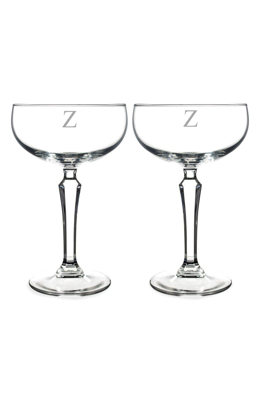 Monogram Coupe Cocktail/Champagne Glasses,                             Main thumbnail 27, color,