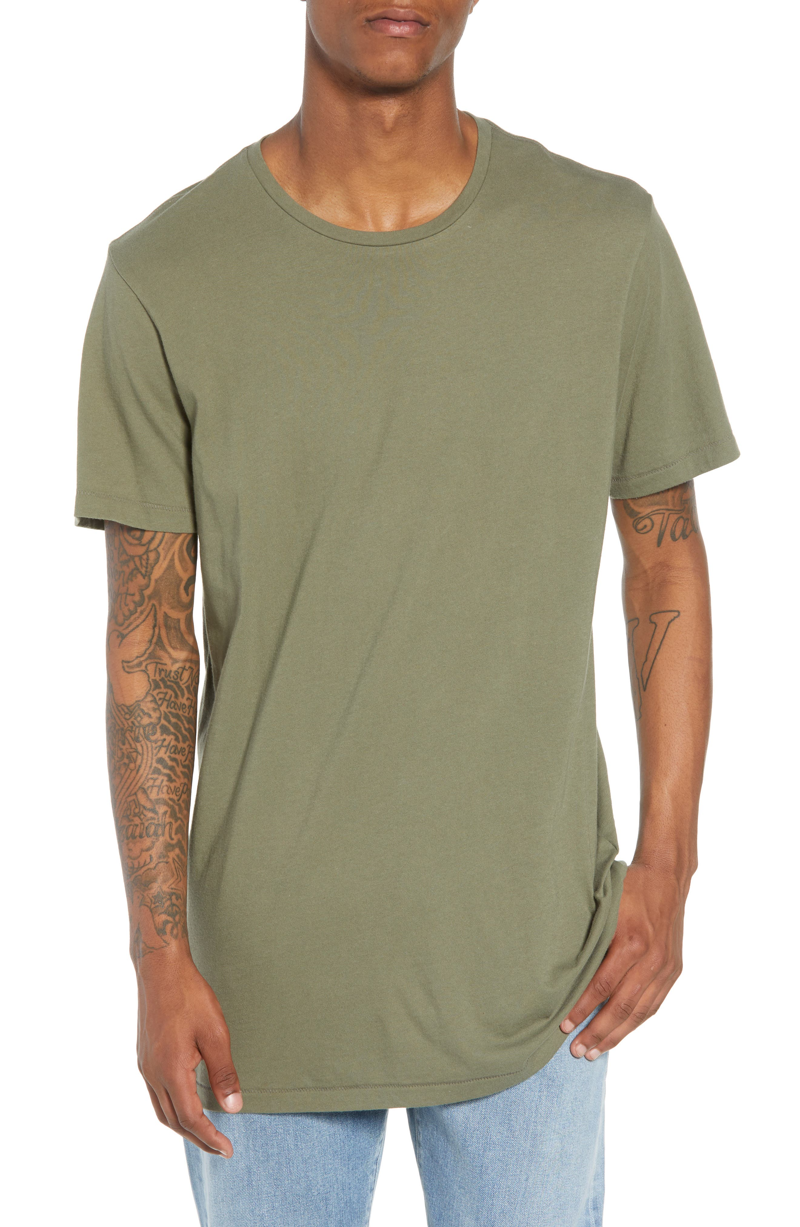 Longline T-Shirt,                         Main,                         color, OLIVE GROVE