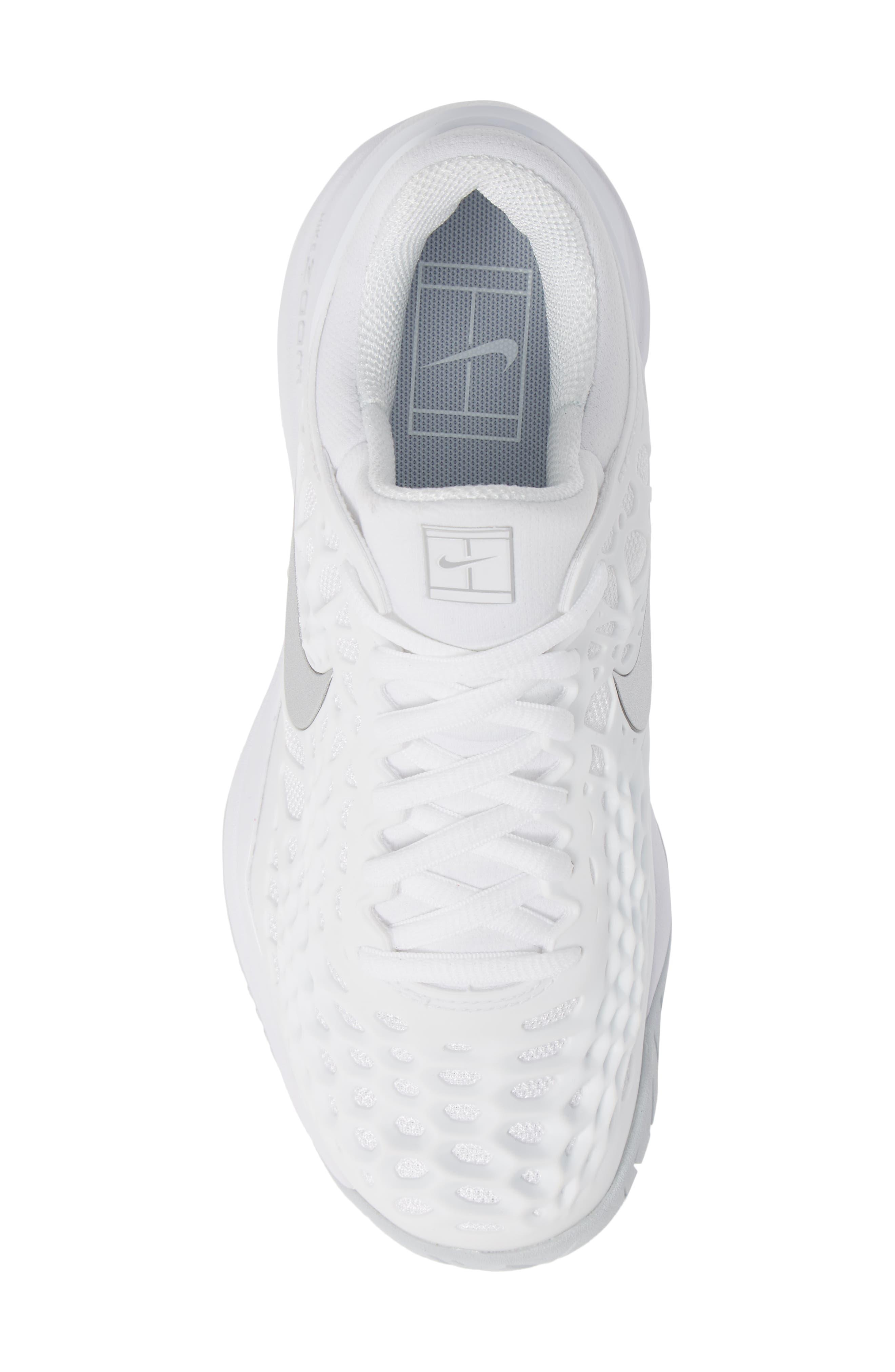 Air Zoom Cage 3 HC Tennis Shoe,                             Alternate thumbnail 5, color,                             WHITE/ SILVER/ PLATINUM