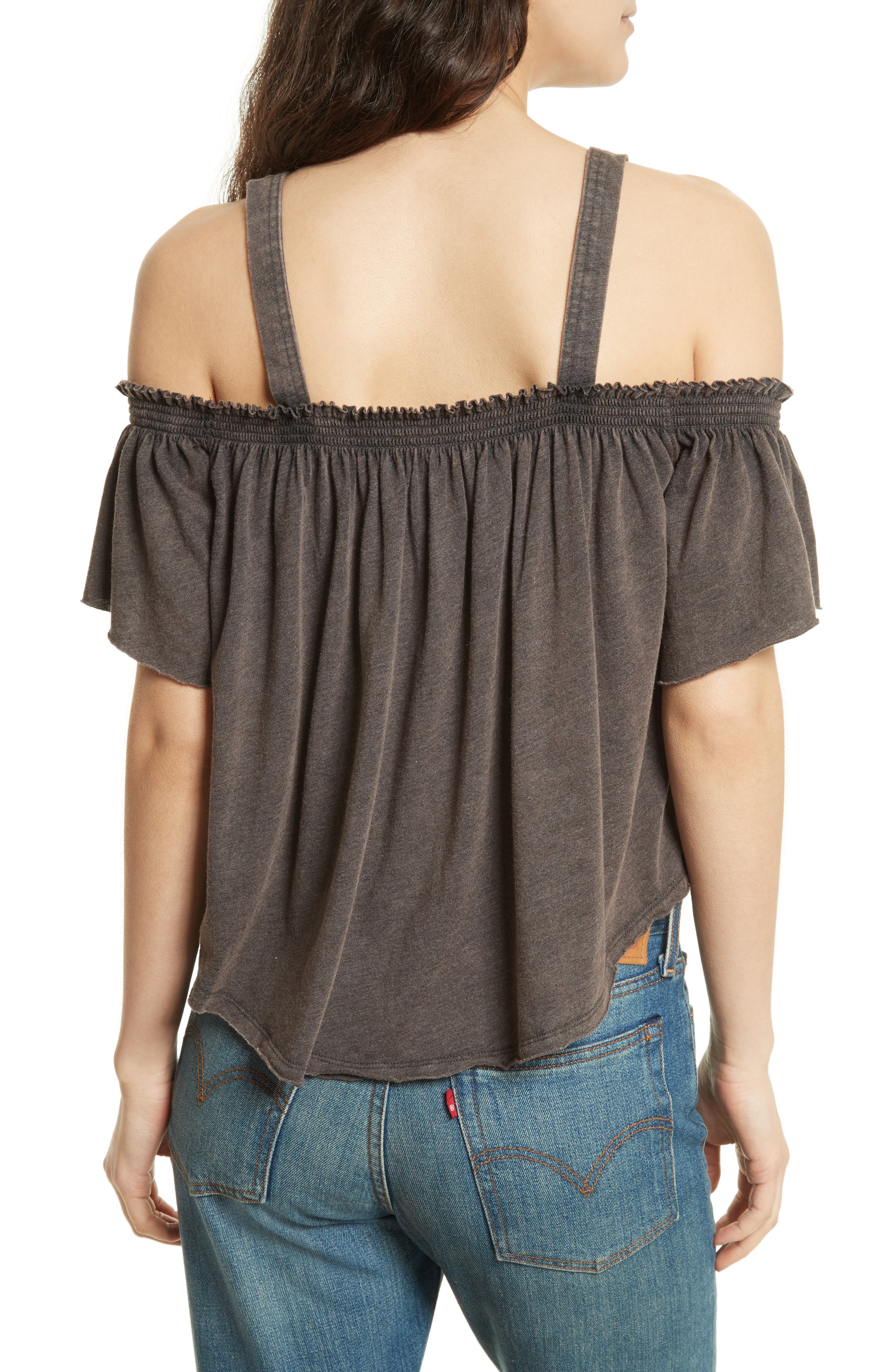 FREE PEOPLE,                             Darling Off the Shoulder Top,                             Alternate thumbnail 2, color,                             001
