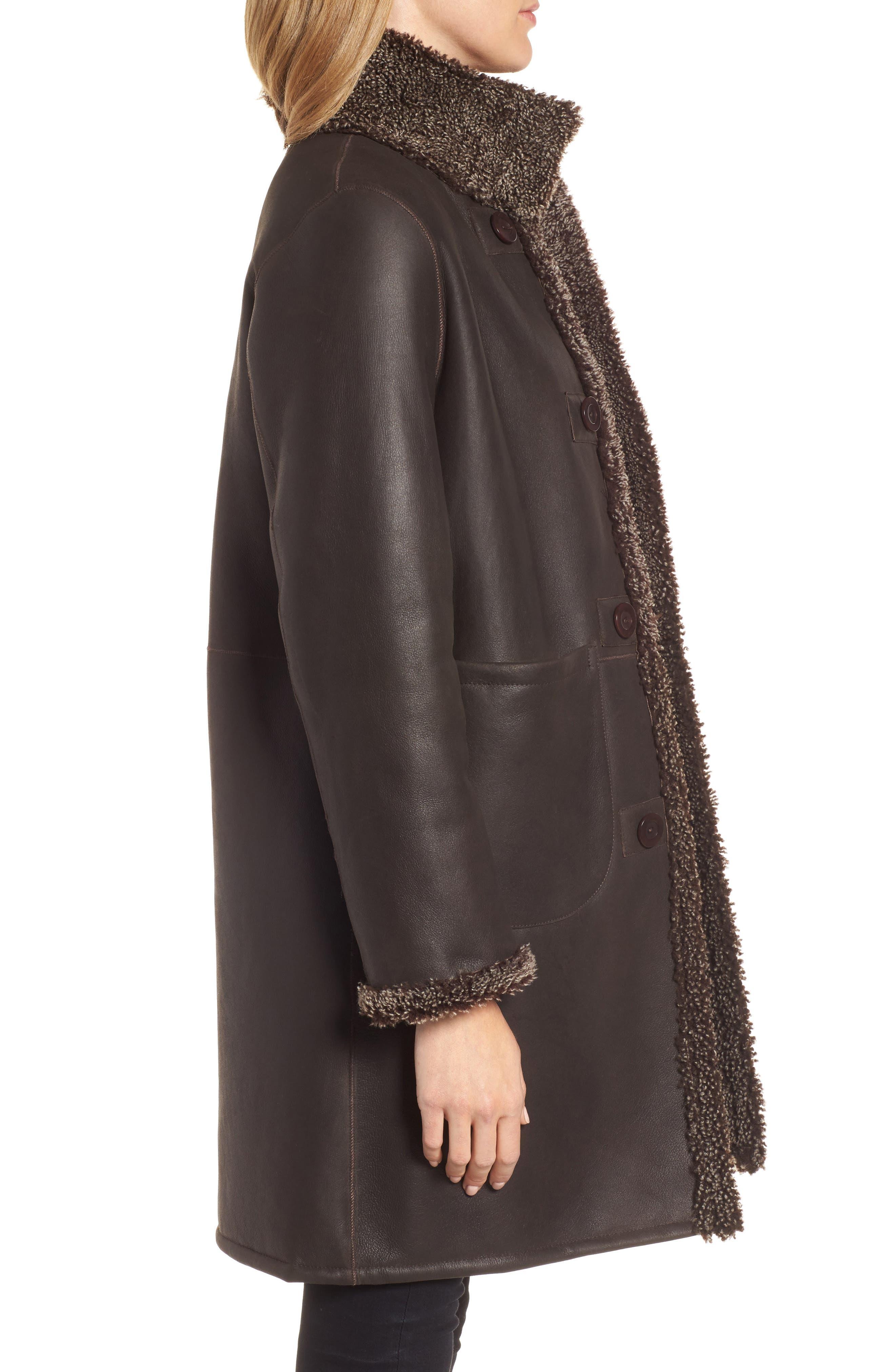Reversible Genuine Shearling Coat,                             Alternate thumbnail 3, color,                             203