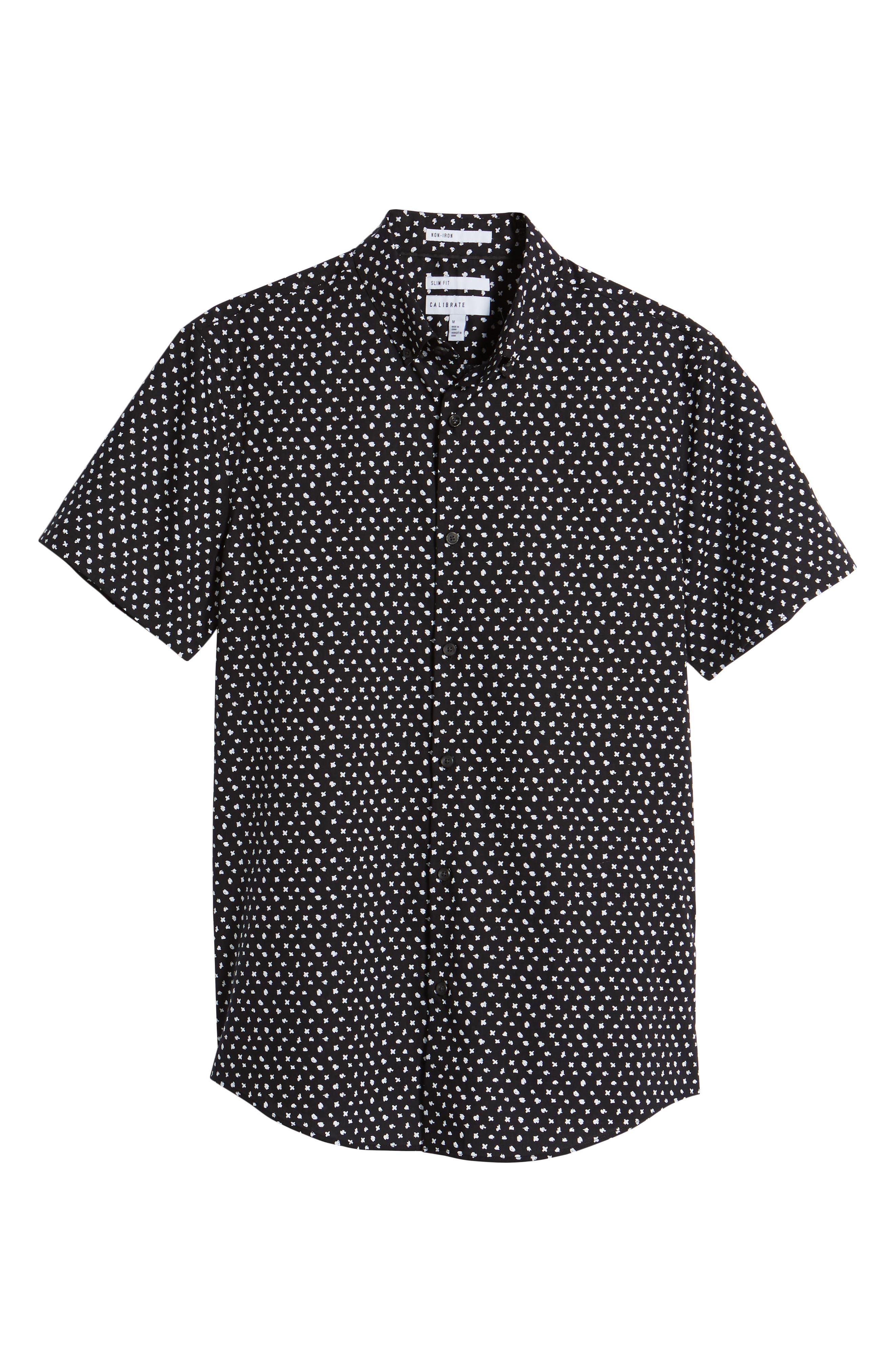 CALIBRATE,                             Trim Fit Dot Print Sport Shirt,                             Alternate thumbnail 6, color,                             001