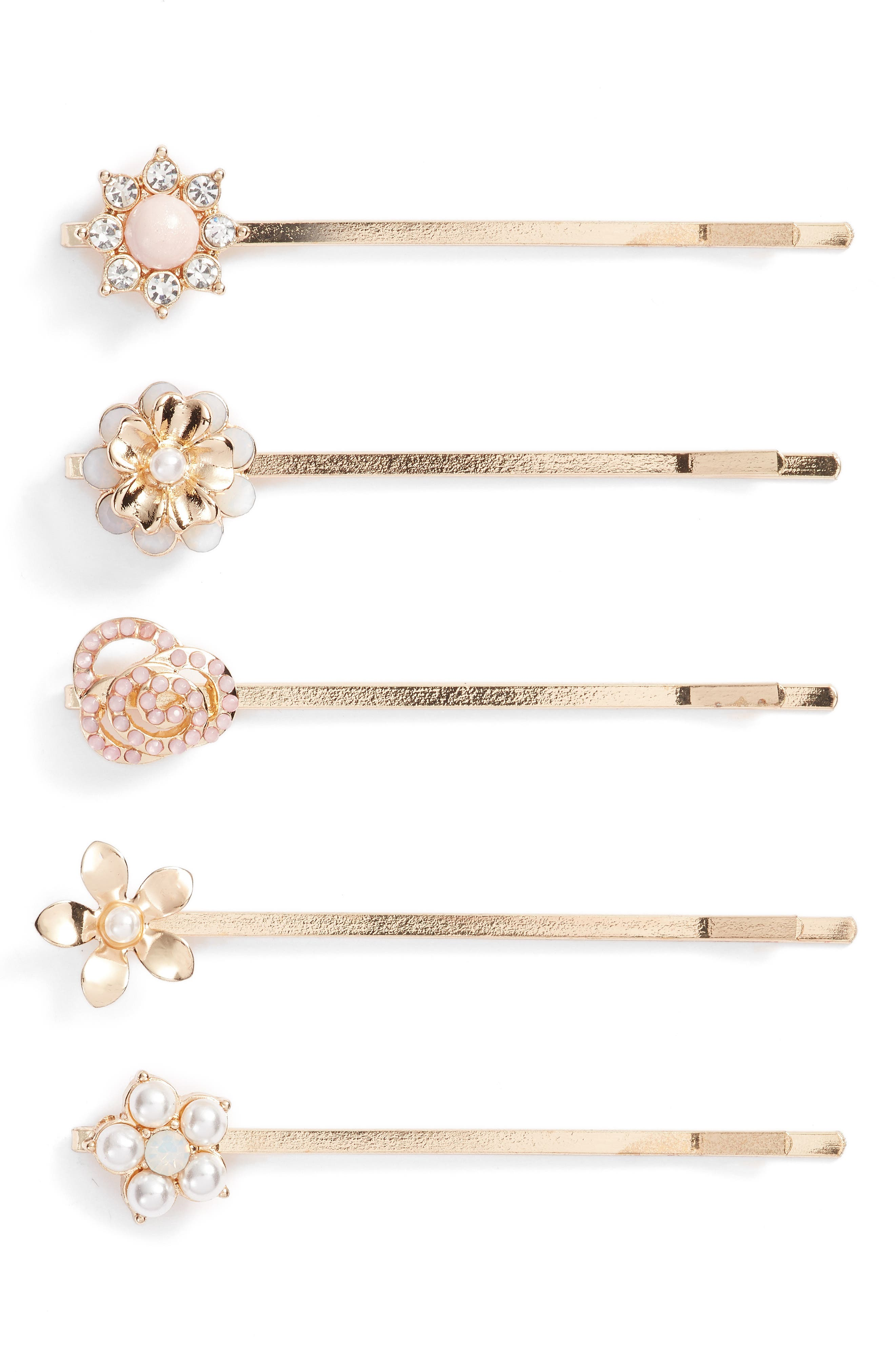 Gold Flower 5-Pack Bobby Pins,                             Main thumbnail 1, color,                             710