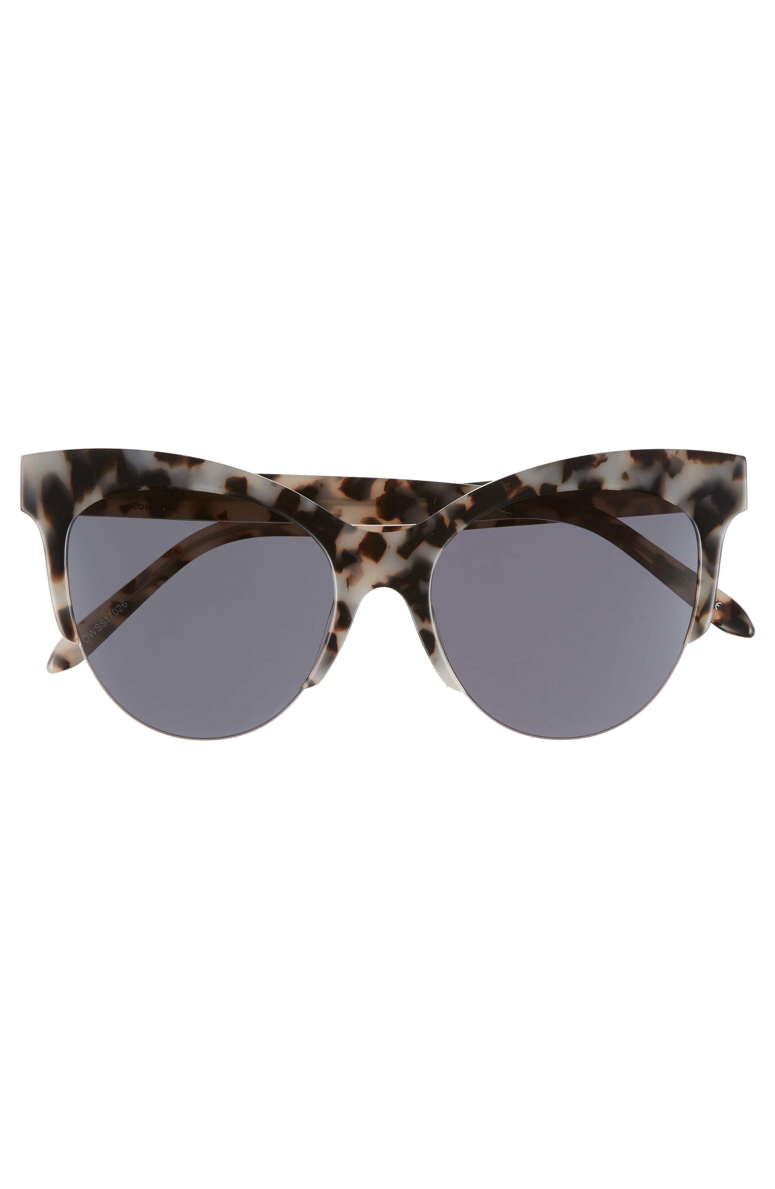 Cody 53mm Cat Eye Sunglasses,                             Alternate thumbnail 3, color,                             MILKY TORTOISE/ SMOKE