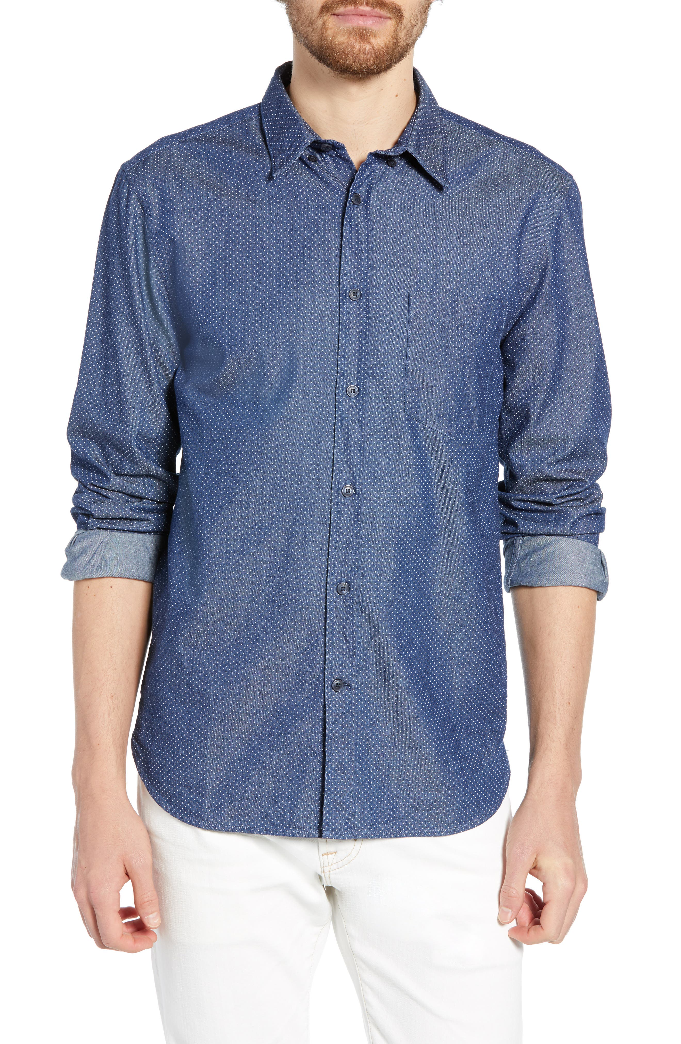 Dotted Regular Fit Chambray Shirt, Main, color, CHAMBRAY MULTI