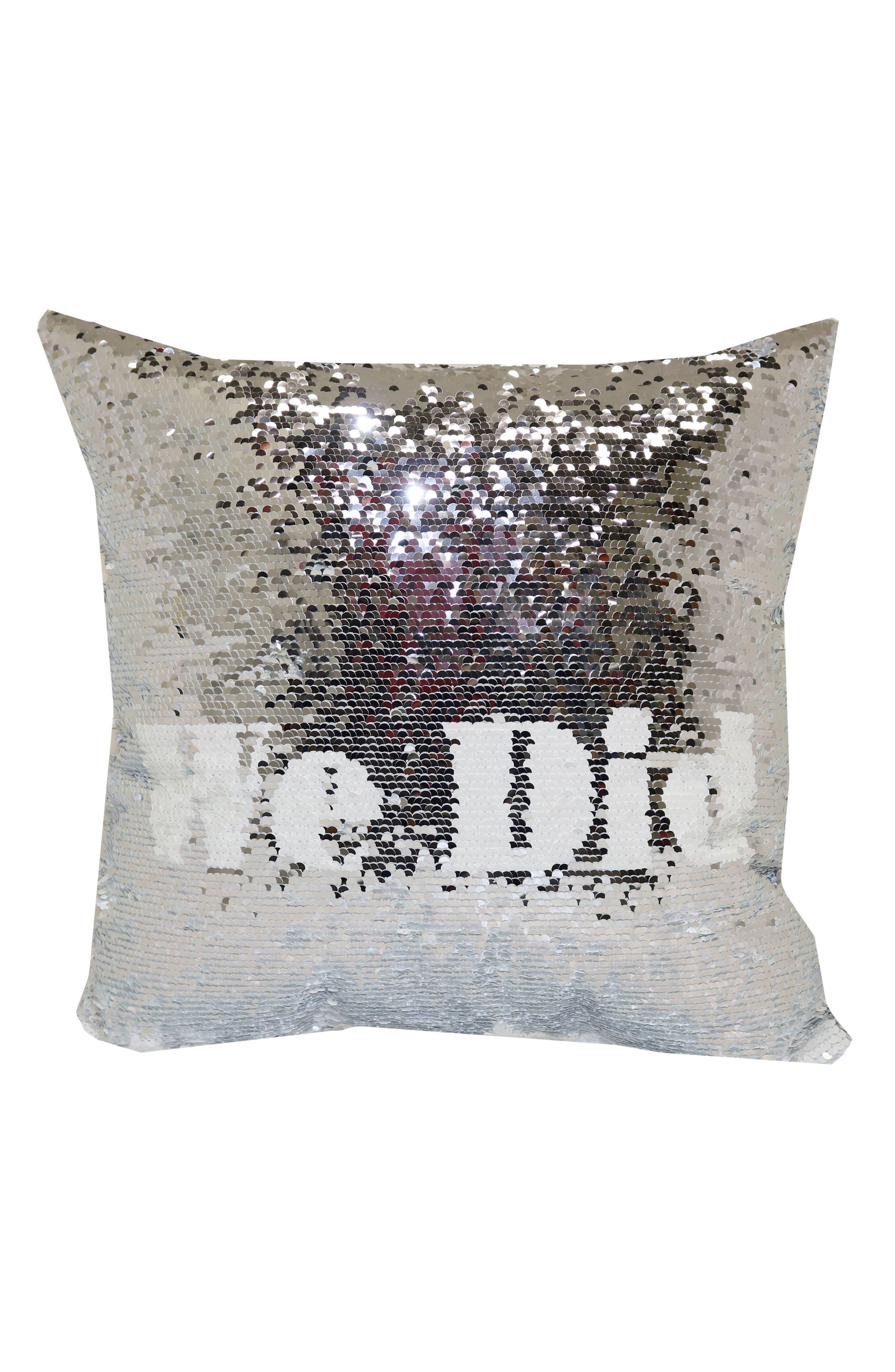 I Do/We Did Flip Sequin Pillow,                             Main thumbnail 1, color,                             100