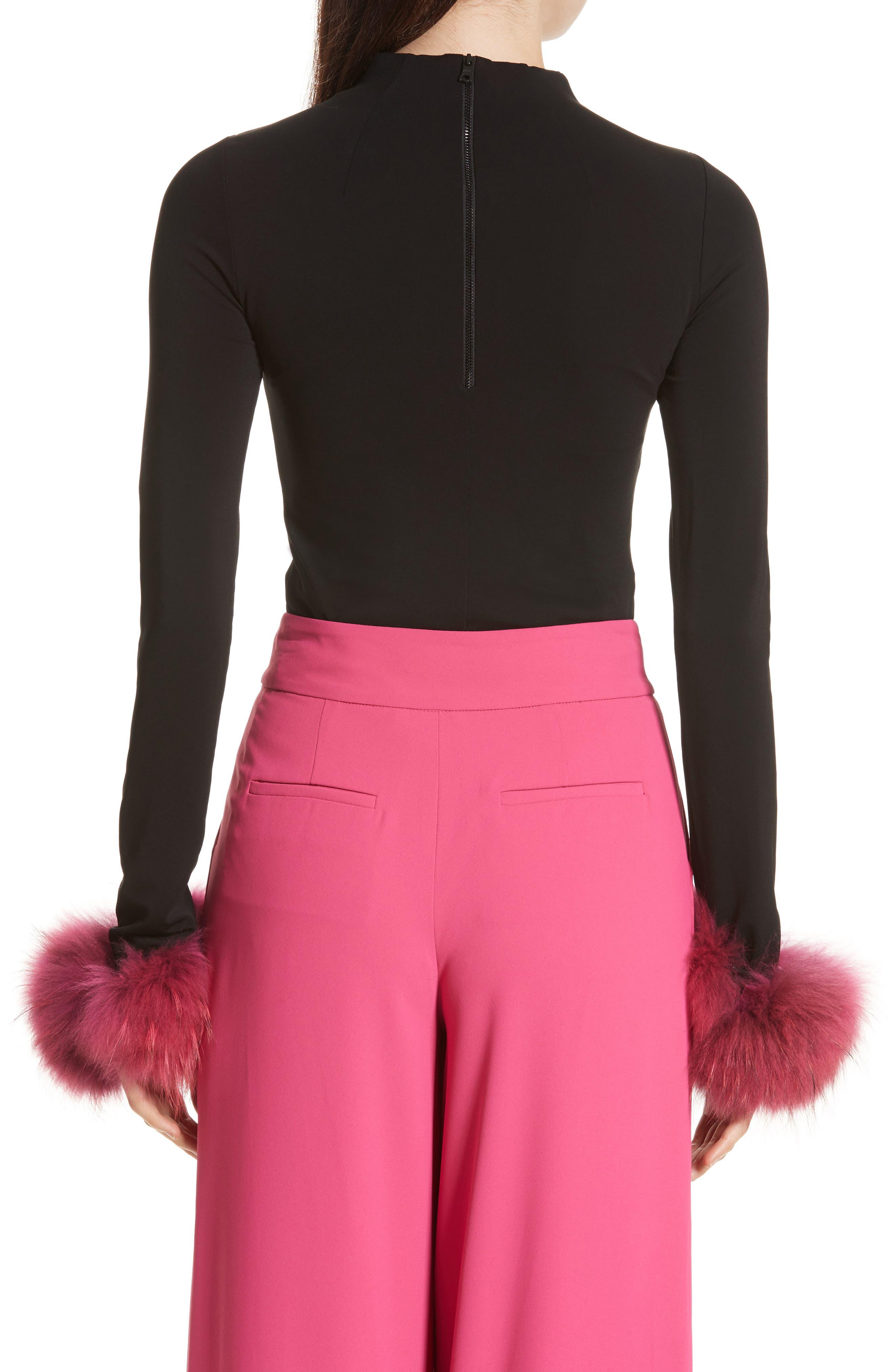 Haylen Genuine Fox Fur Cuff Top,                             Alternate thumbnail 2, color,                             006