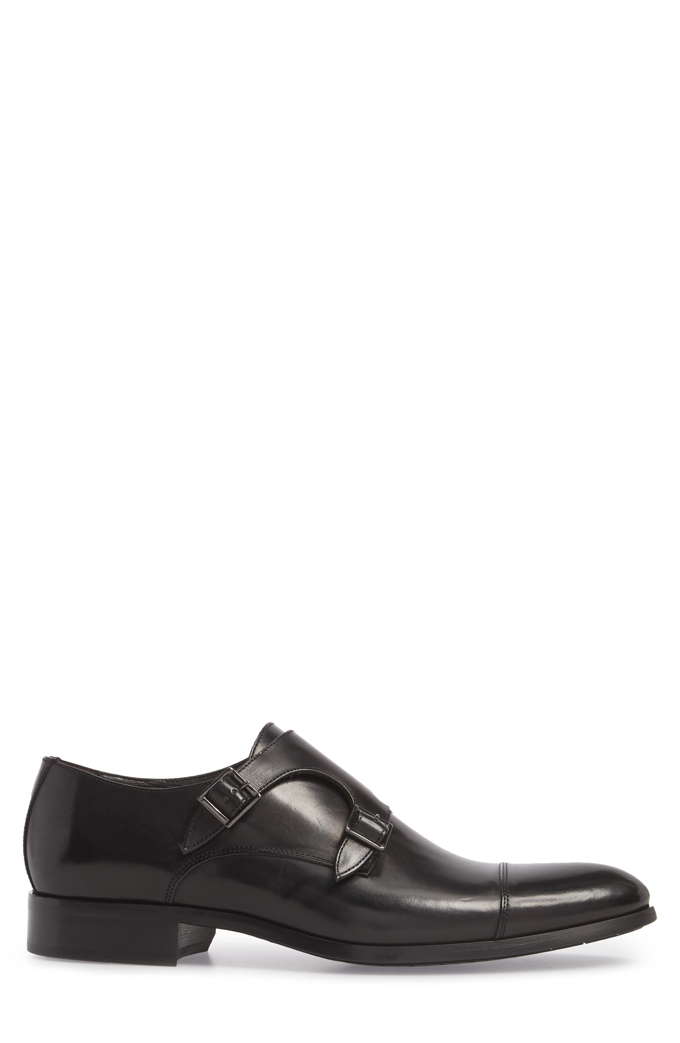Bankston Cap Toe Double Strap Monk Shoe,                             Alternate thumbnail 3, color,                             BLACK LEATHER