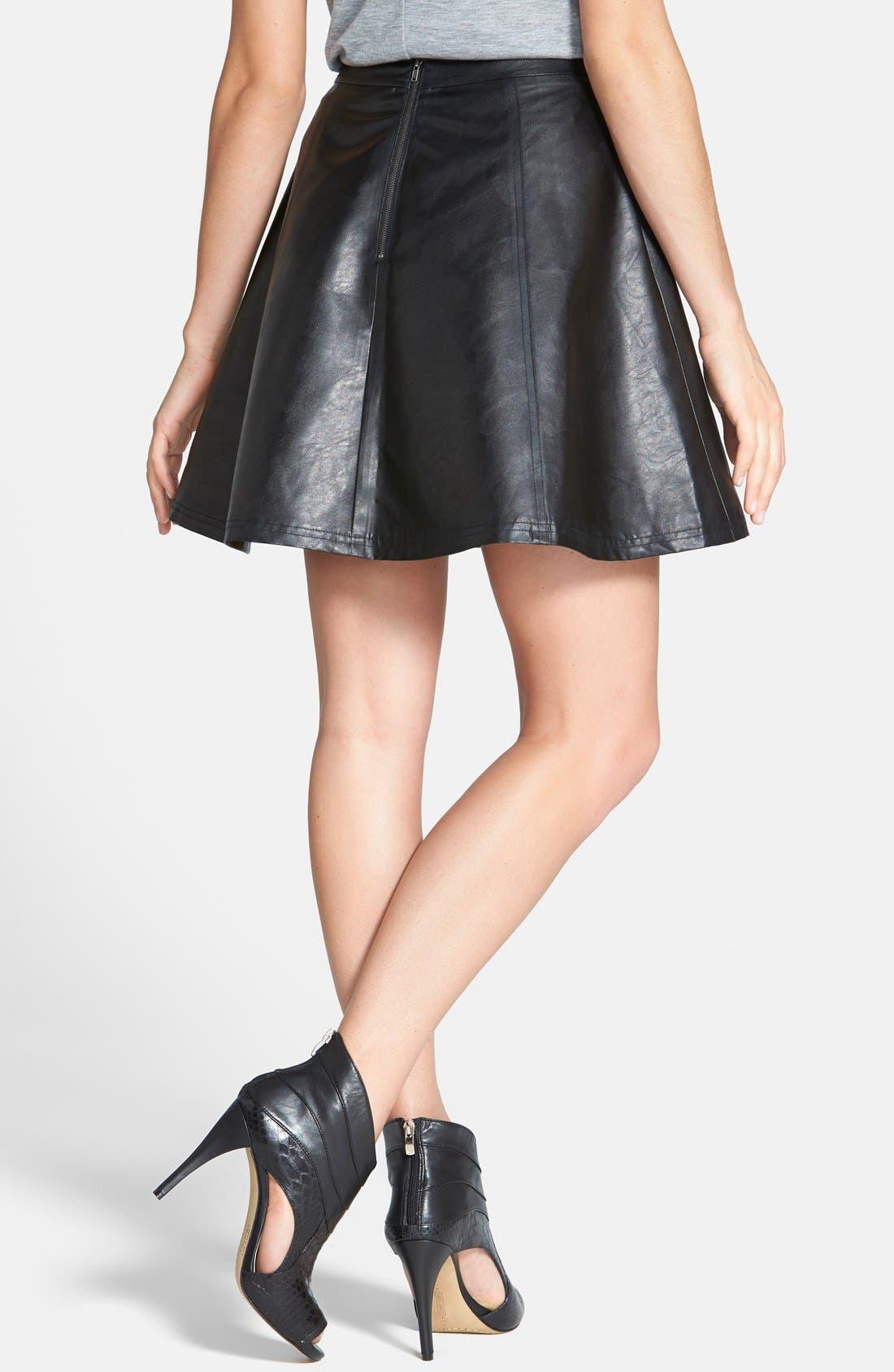 Faux Leather Circle Skirt,                             Alternate thumbnail 2, color,                             001