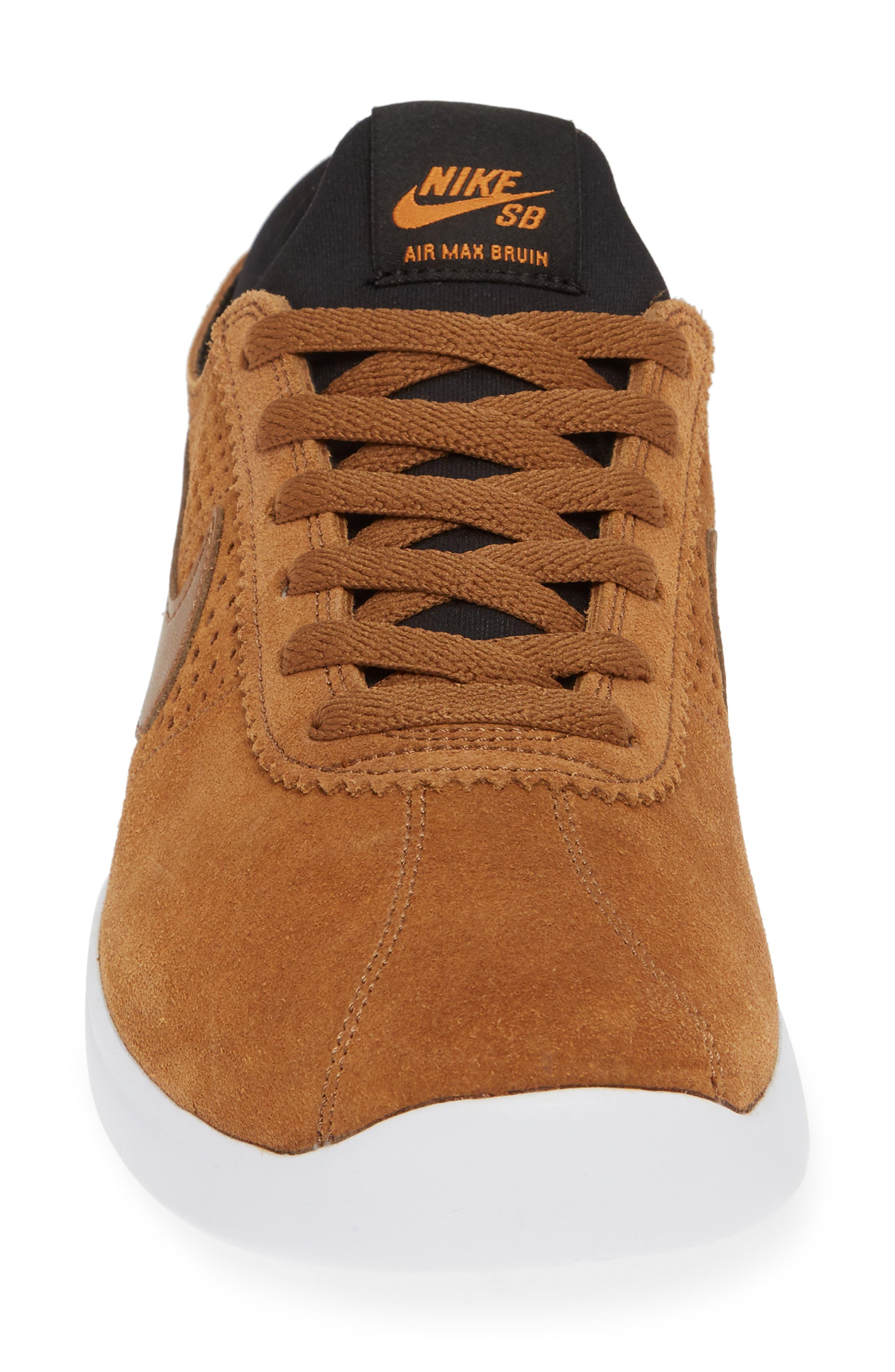 SB Air Max Bruin Vapor Skateboarding Sneaker,                             Alternate thumbnail 4, color,                             BRITISH TAN/ BLACK/ MONARCH