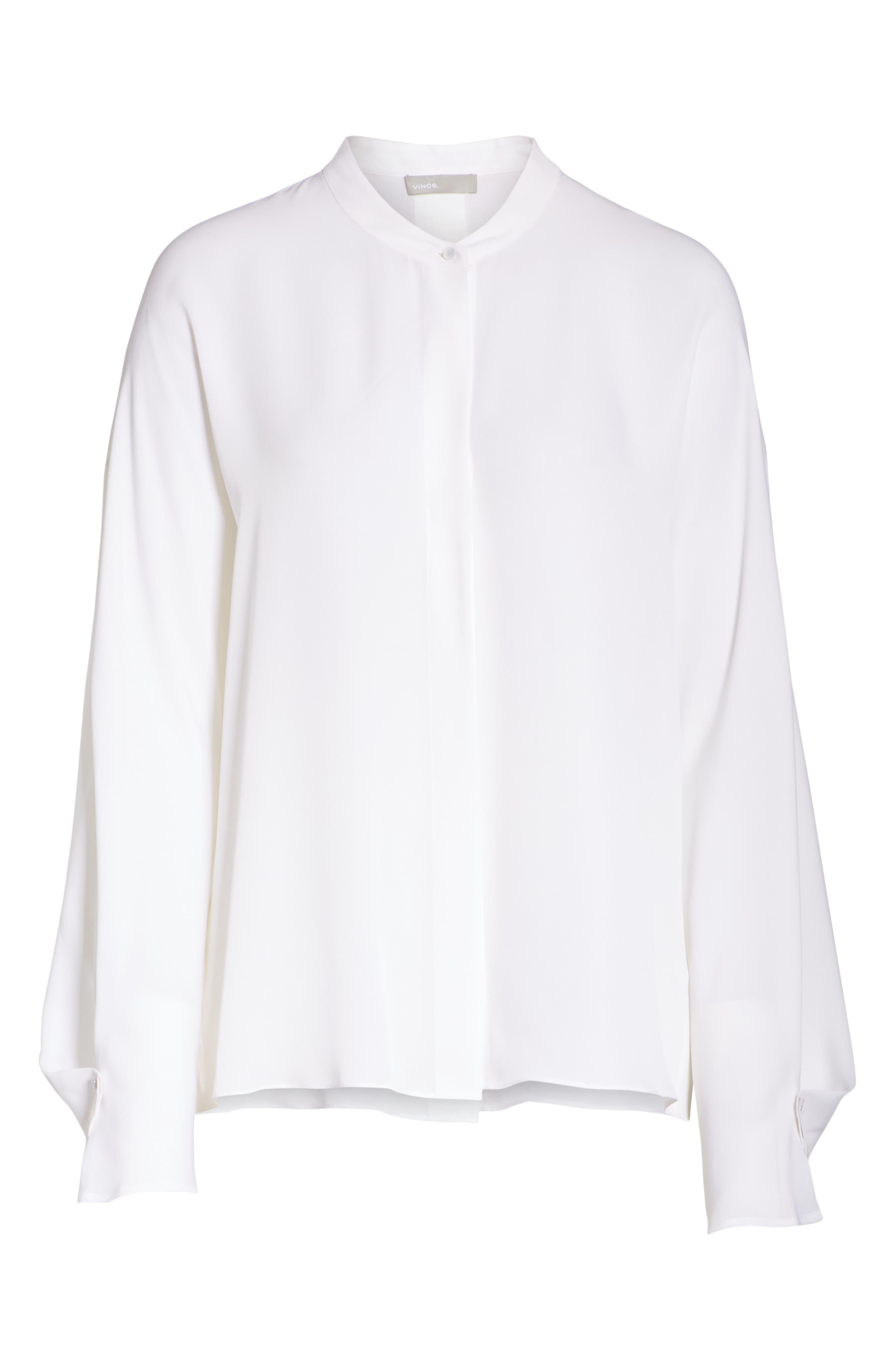 Envelope Sleeve Silk Blouse,                             Alternate thumbnail 6, color,                             OPTIC WHITE