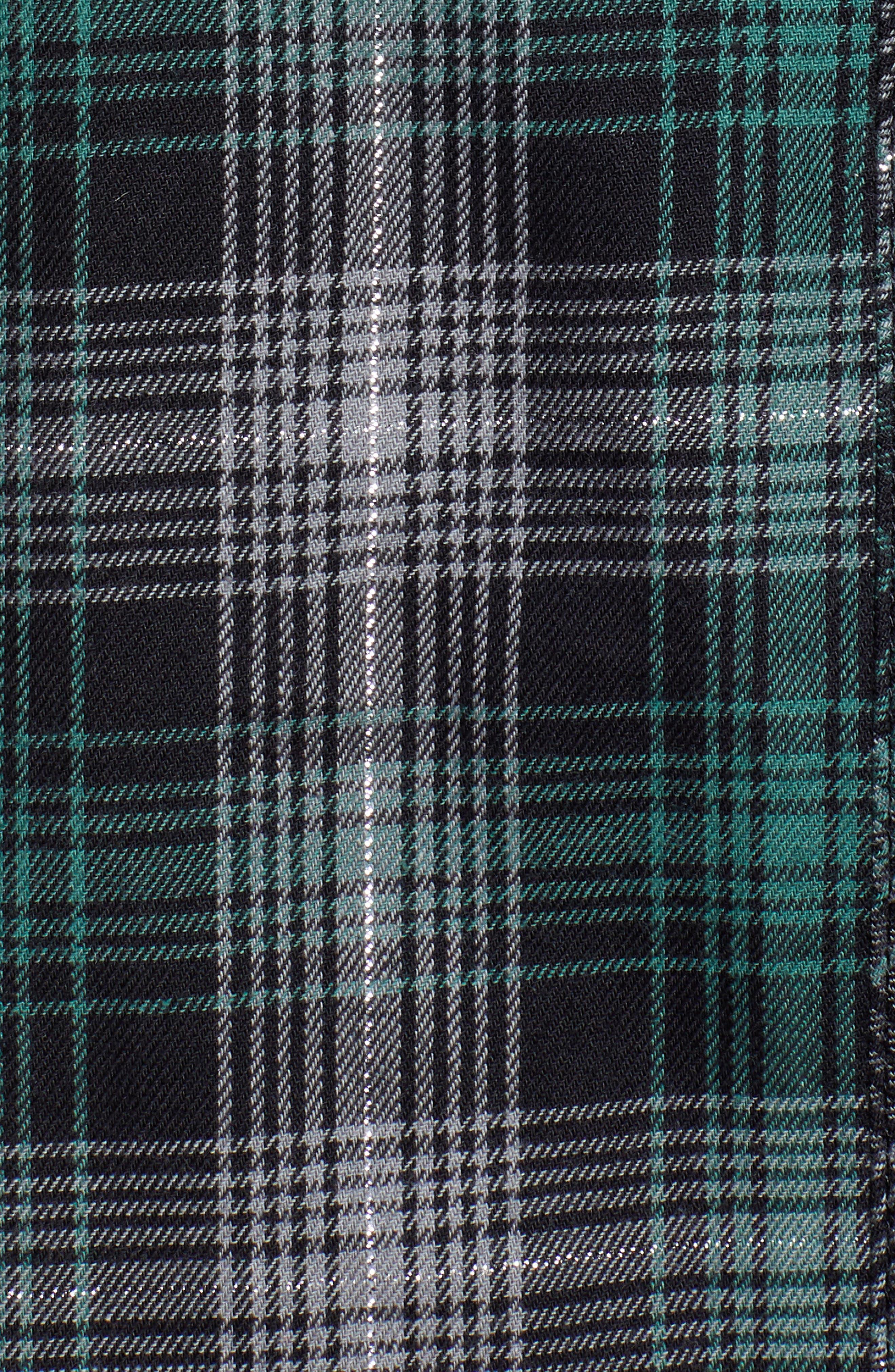 Plaid & Embroidered Velvet Shirt,                             Alternate thumbnail 5, color,                             GREEN/ GREY