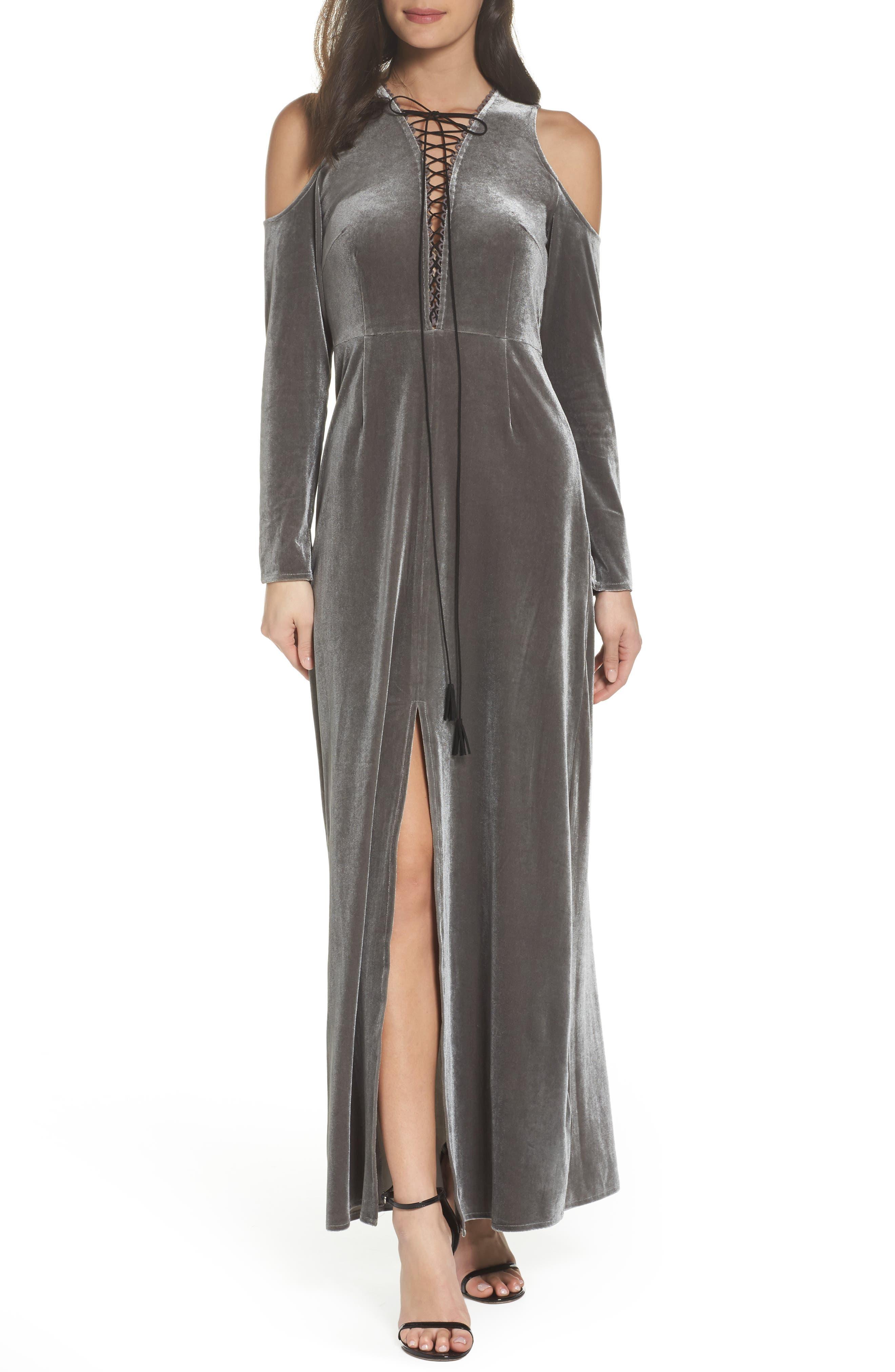 Velvet Lace Up Dress,                             Main thumbnail 1, color,                             039