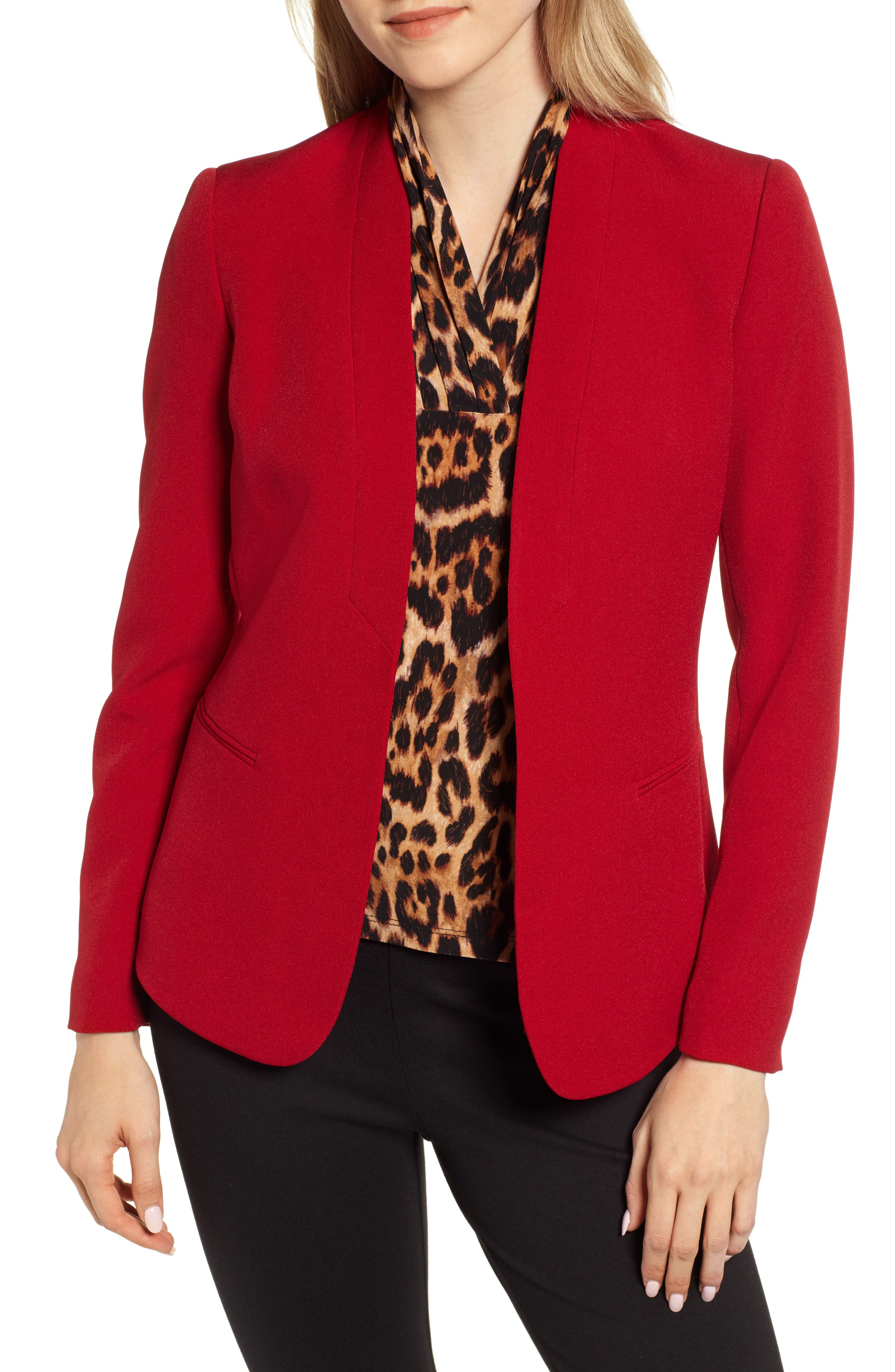 ANNE KLEIN Crepe Jacket in Titian Red