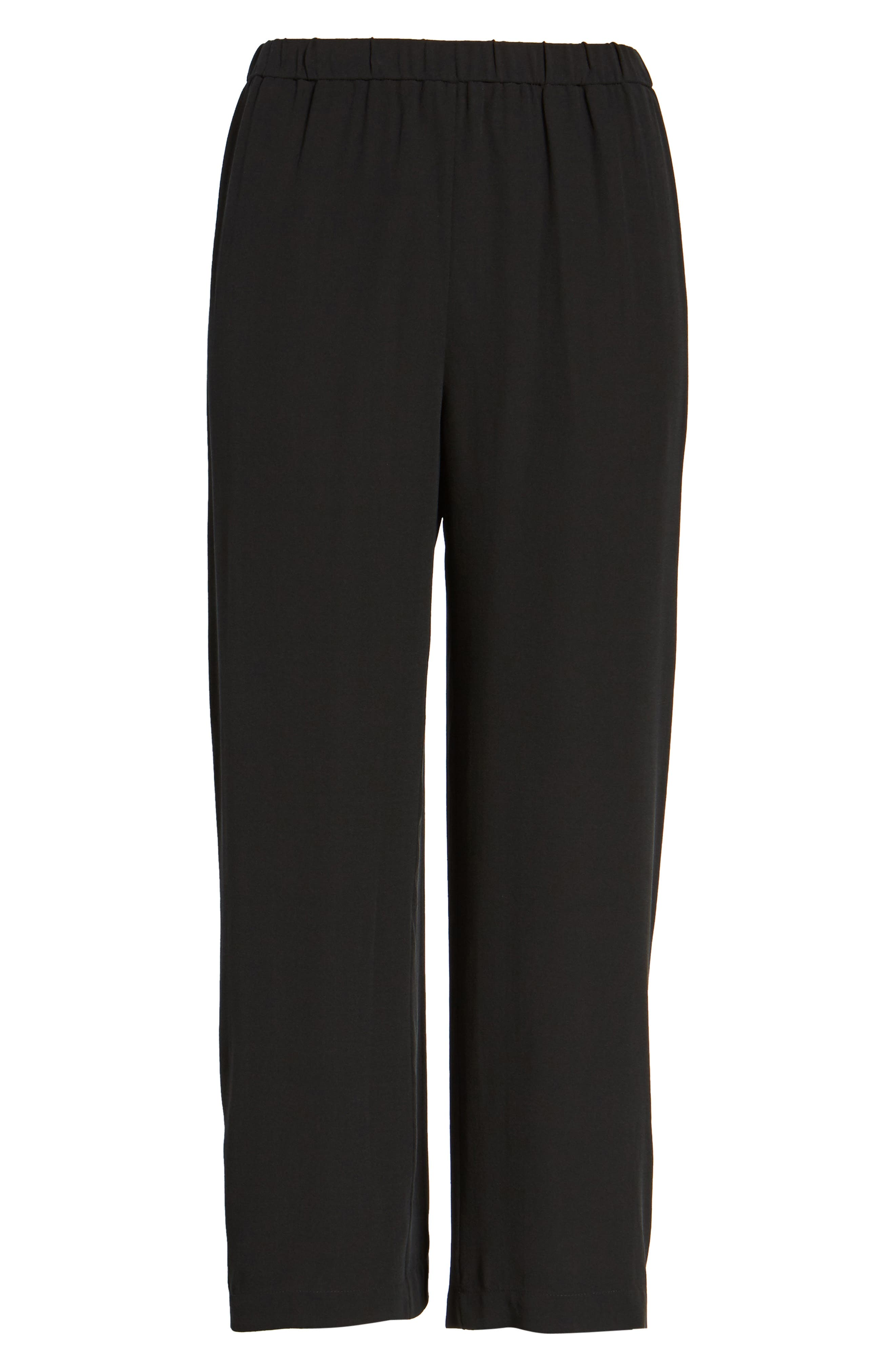 EILEEN FISHER,                             Silk Crop Pants,                             Alternate thumbnail 7, color,                             BLACK