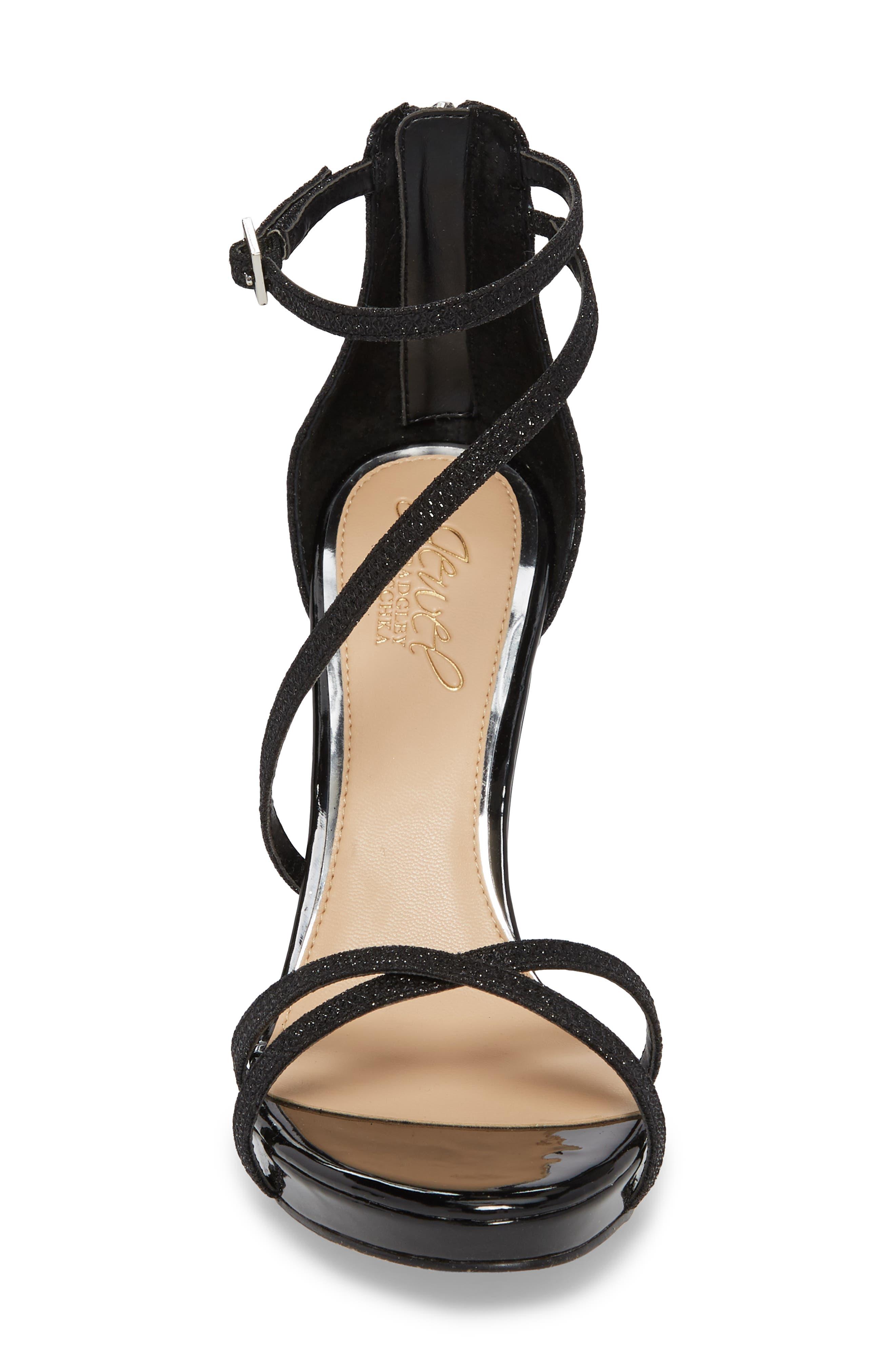 Galen Strappy Platform Sandal,                             Alternate thumbnail 4, color,                             BLACK GLITTER FABRIC