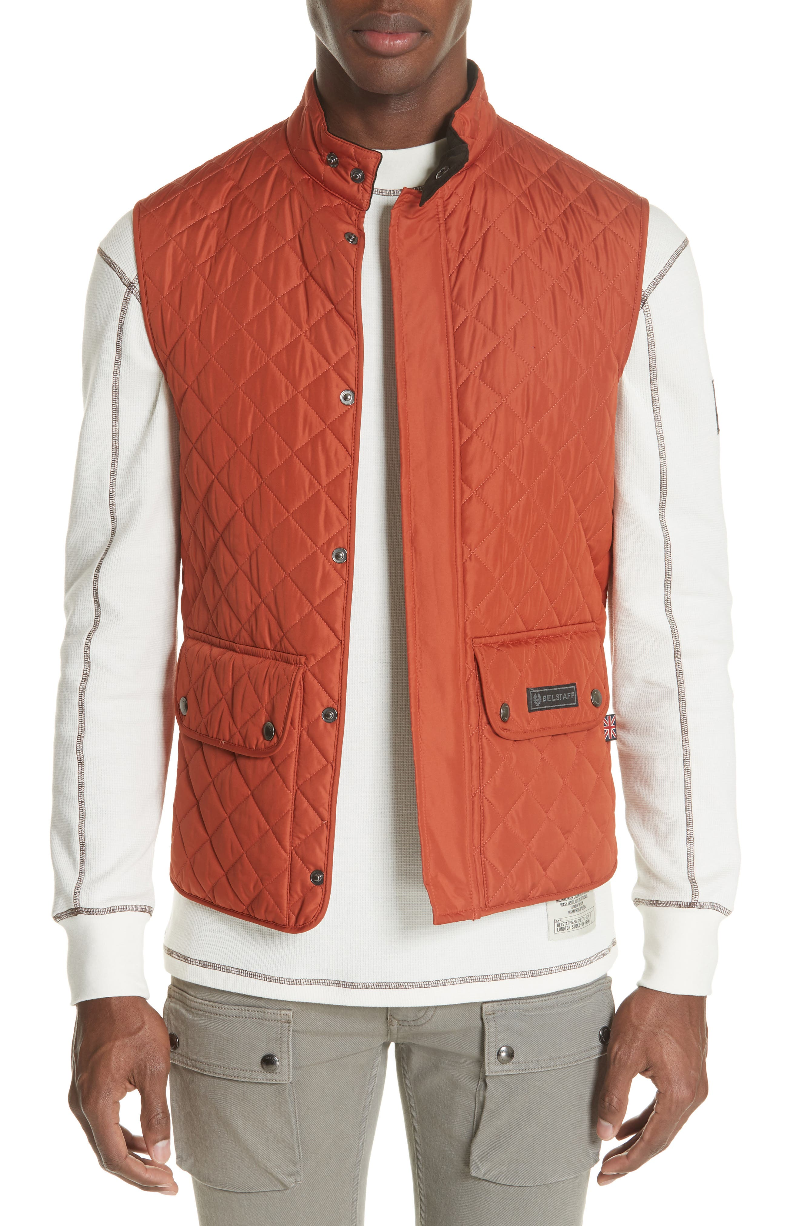 Waistcoat Tech Quilted Vest,                             Main thumbnail 1, color,                             BRIGHT TAMERIND