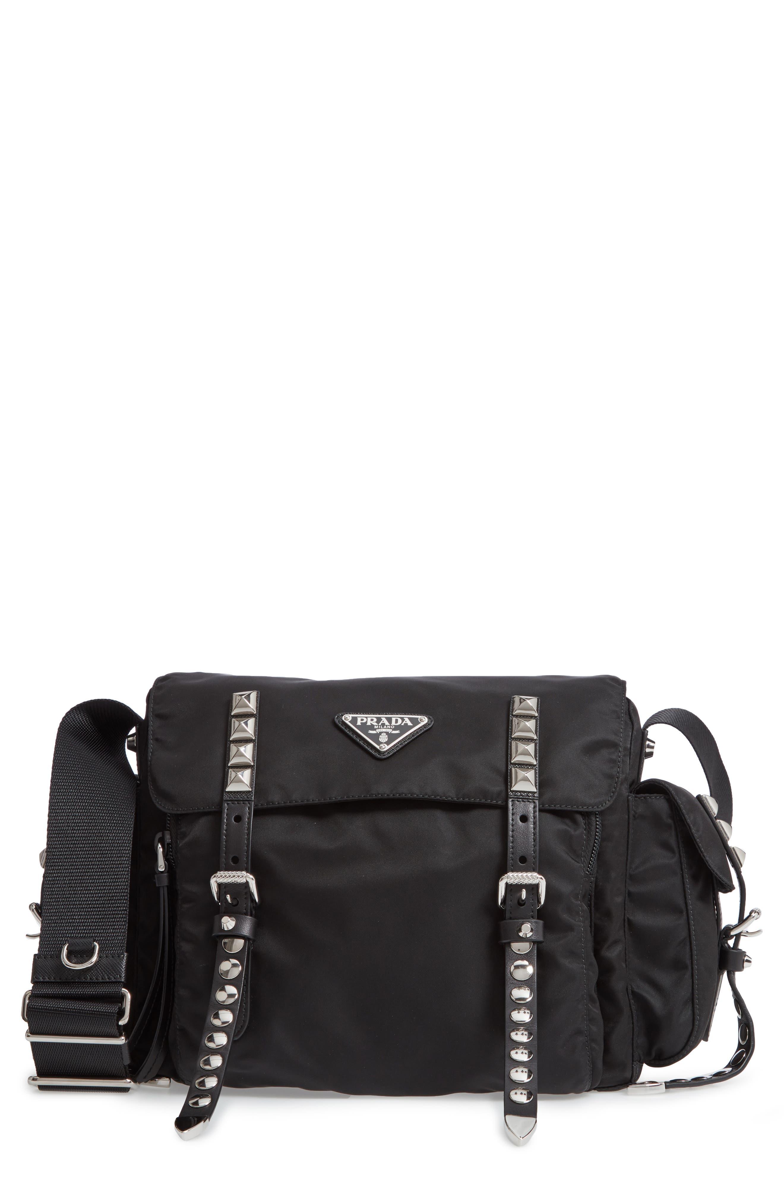 Stud Nylon Messenger Bag,                         Main,                         color, NERO