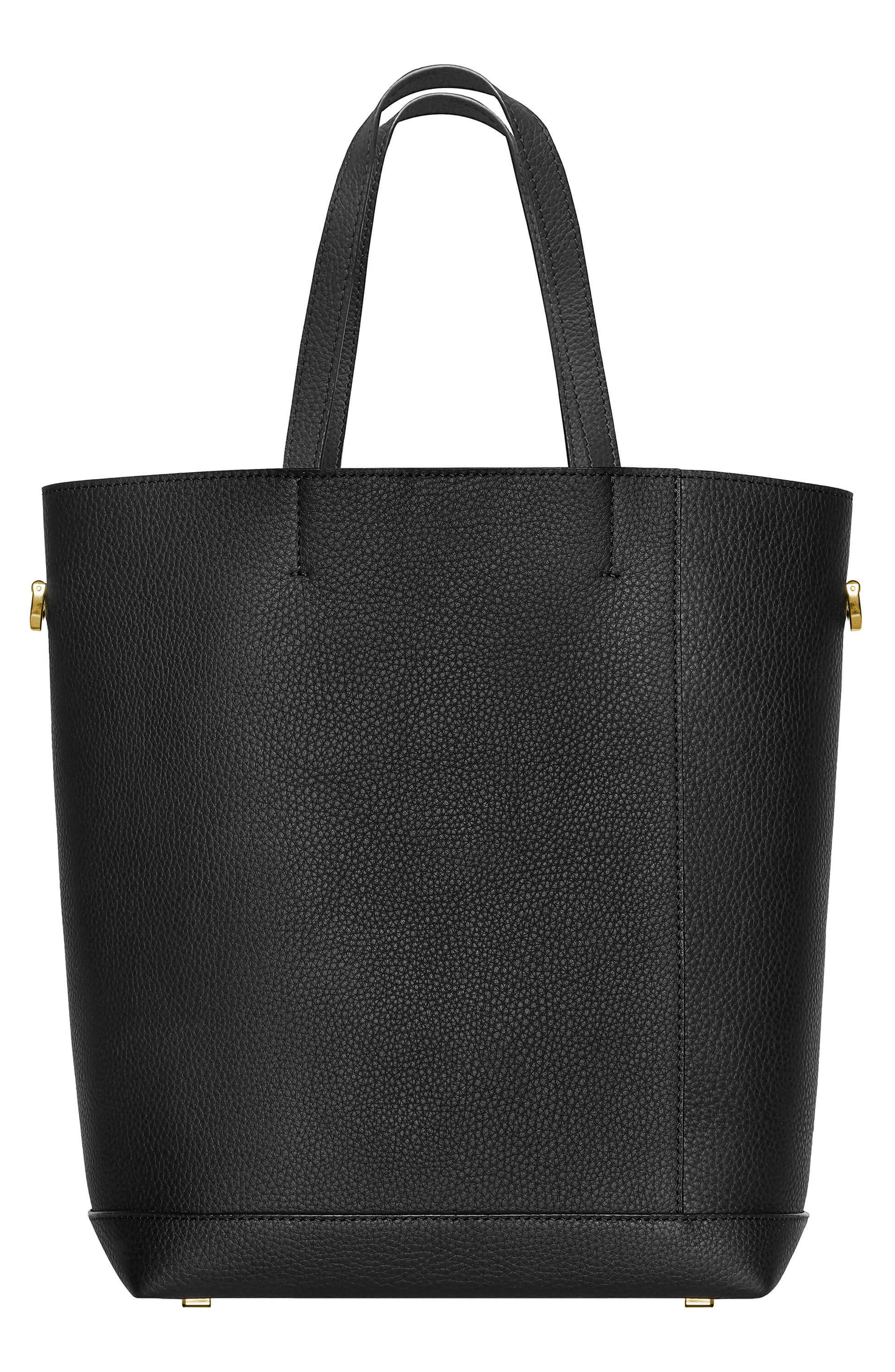 Lyon Water Repellent Leather Tote,                             Alternate thumbnail 3, color,                             BLACK